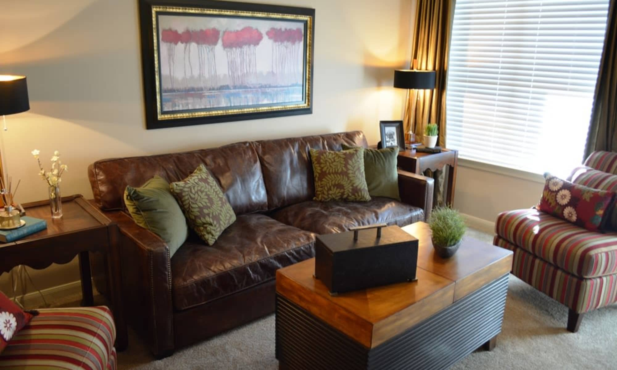 Spacious living room at apartments & townhomes in San Antonio, TX