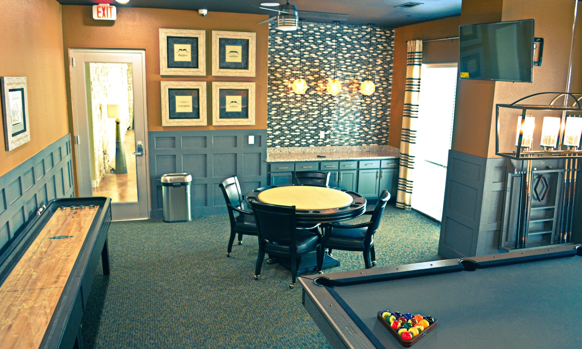 A clubhouse that is great for entertaining at The Abbey at Dominion Crossing in San Antonio, TX