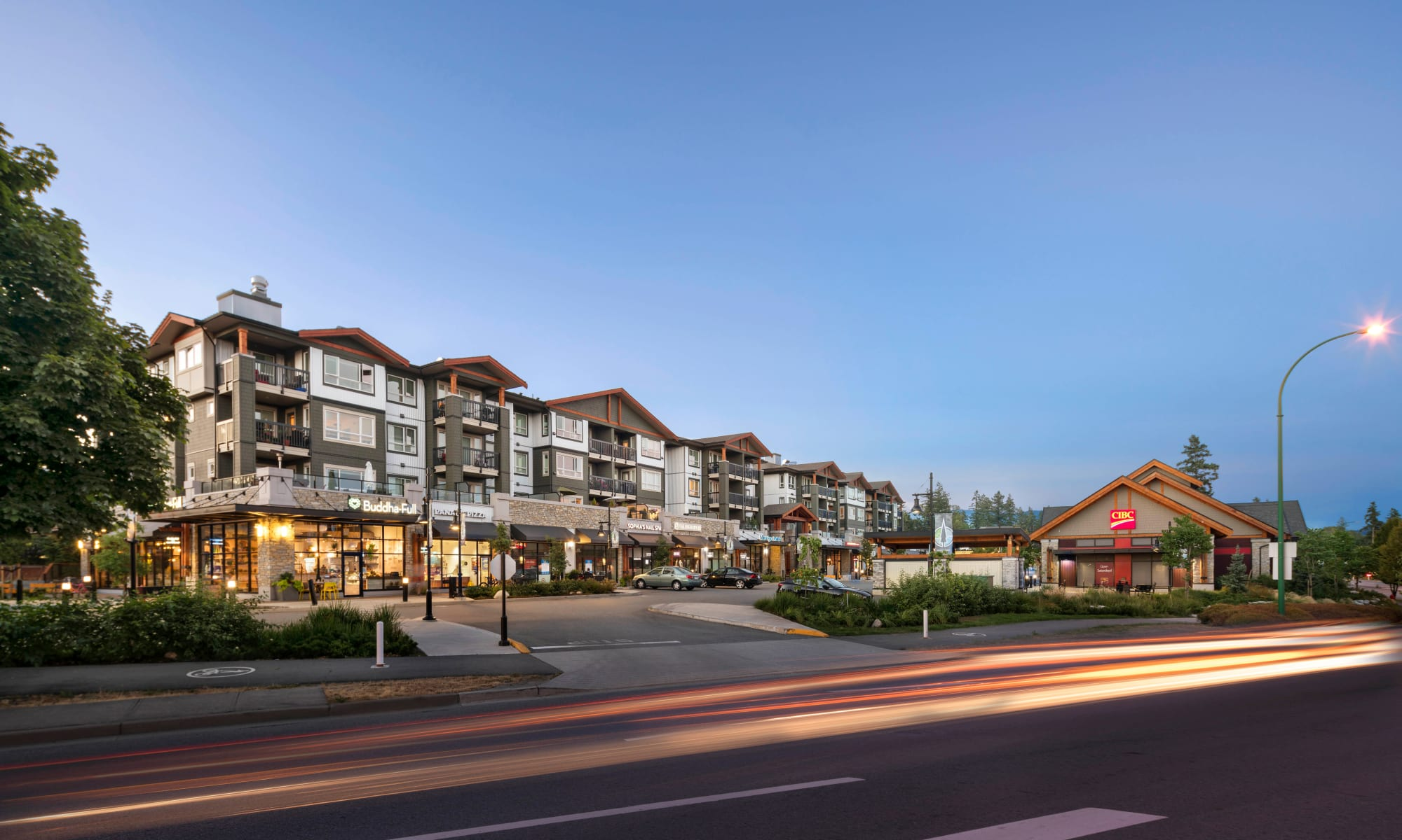 Night time exterior shot of Northwoods Village in North Vancouver