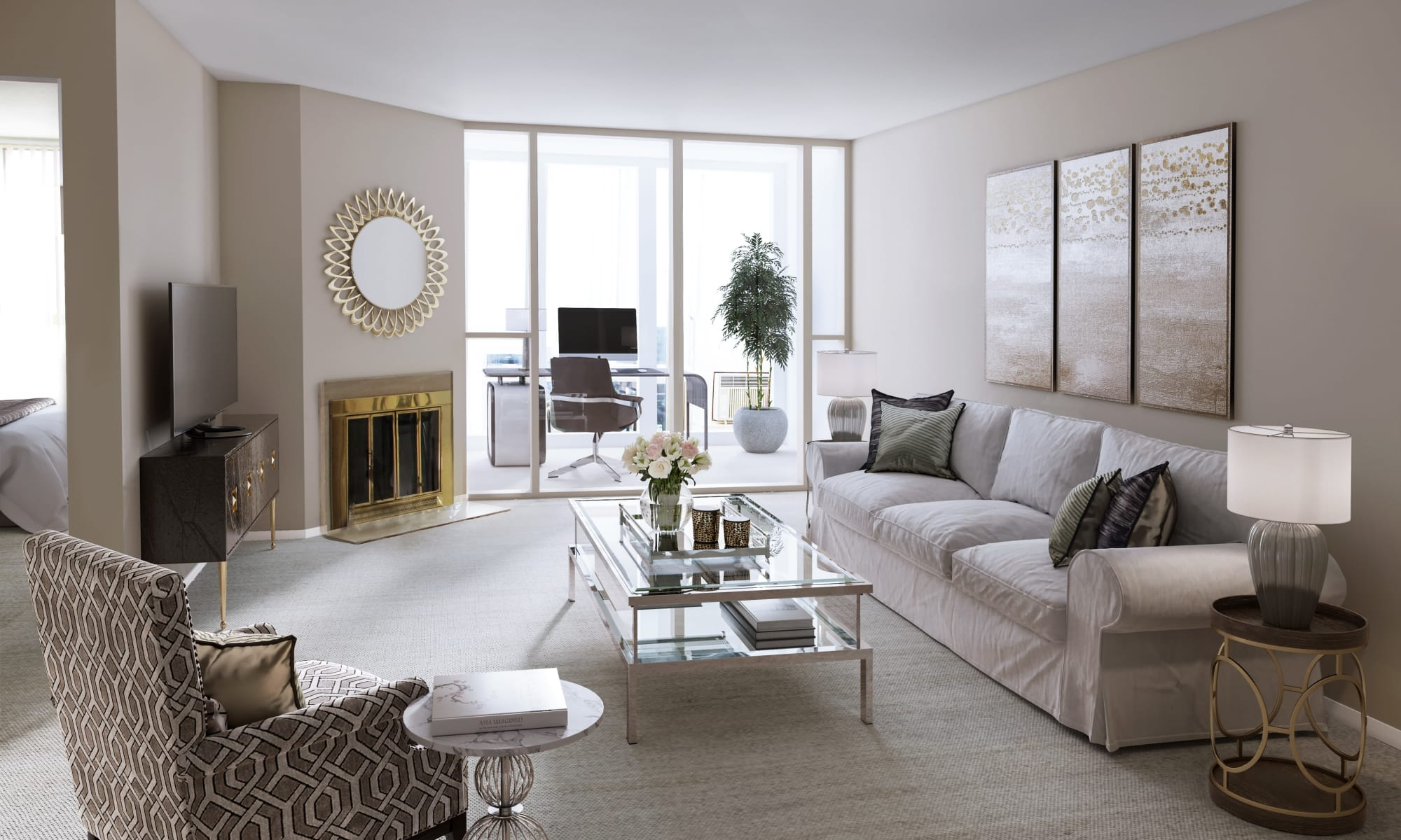 Modern living room at The Waterford Tower apartments