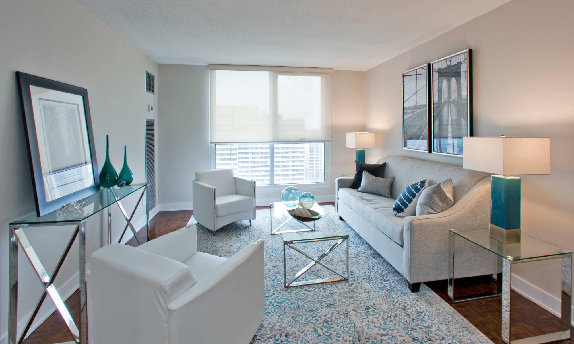 Luxury living room at Residences on Bloor in Toronto, Ontario