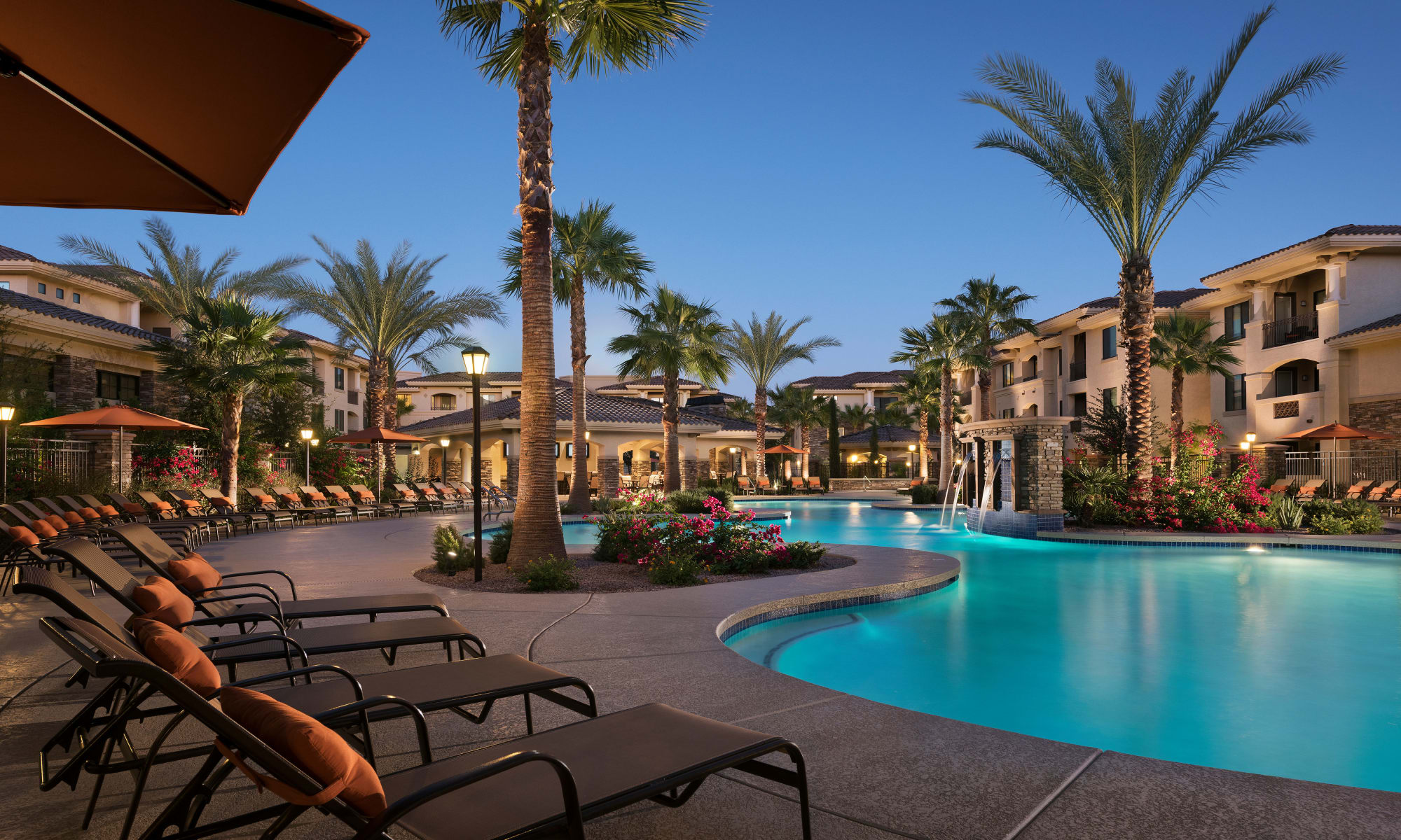 Luxury swimming pool at San Travesia in Scottsdale, Arizona
