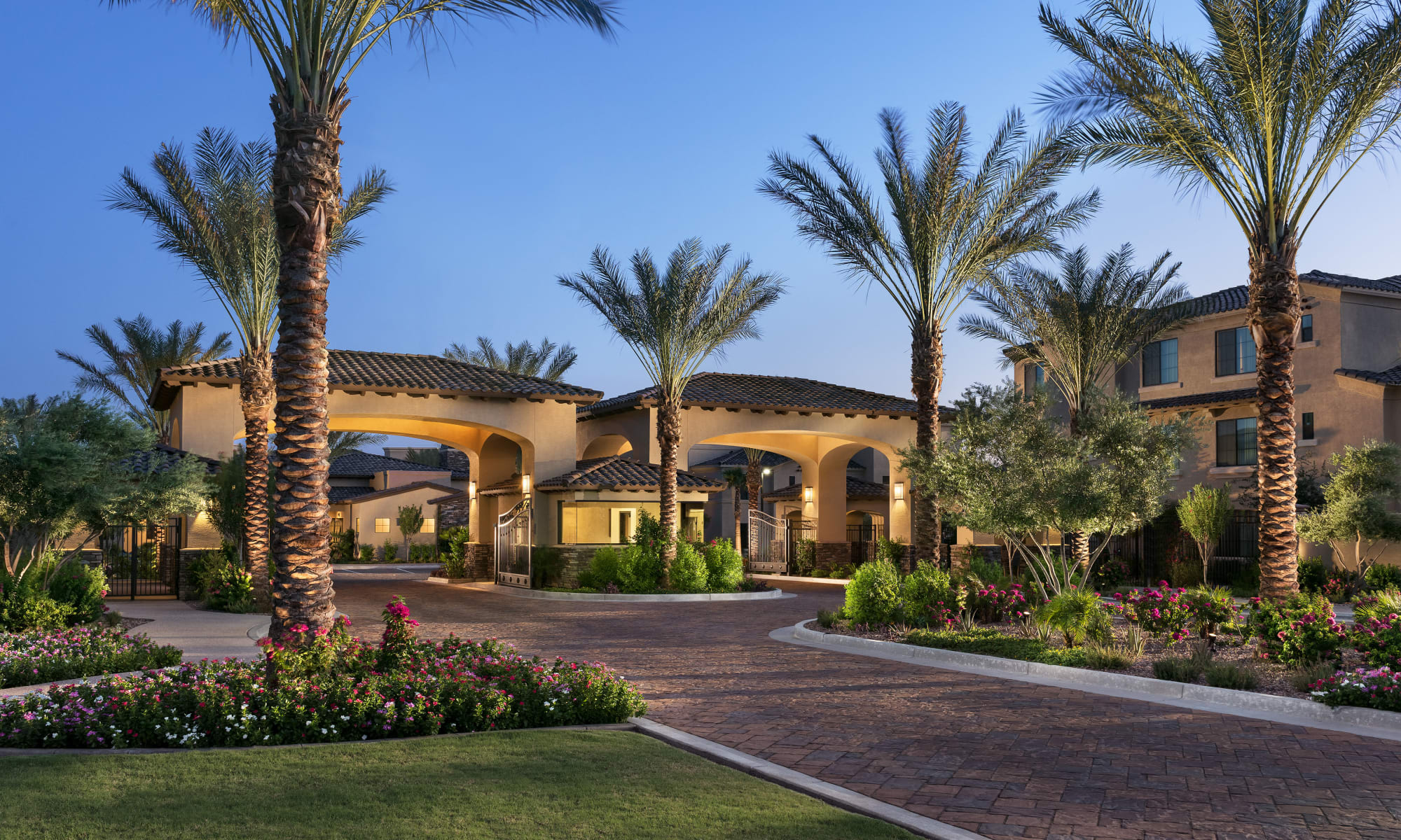 Beautifully landscaped entry at San Milan in Phoenix, Arizona