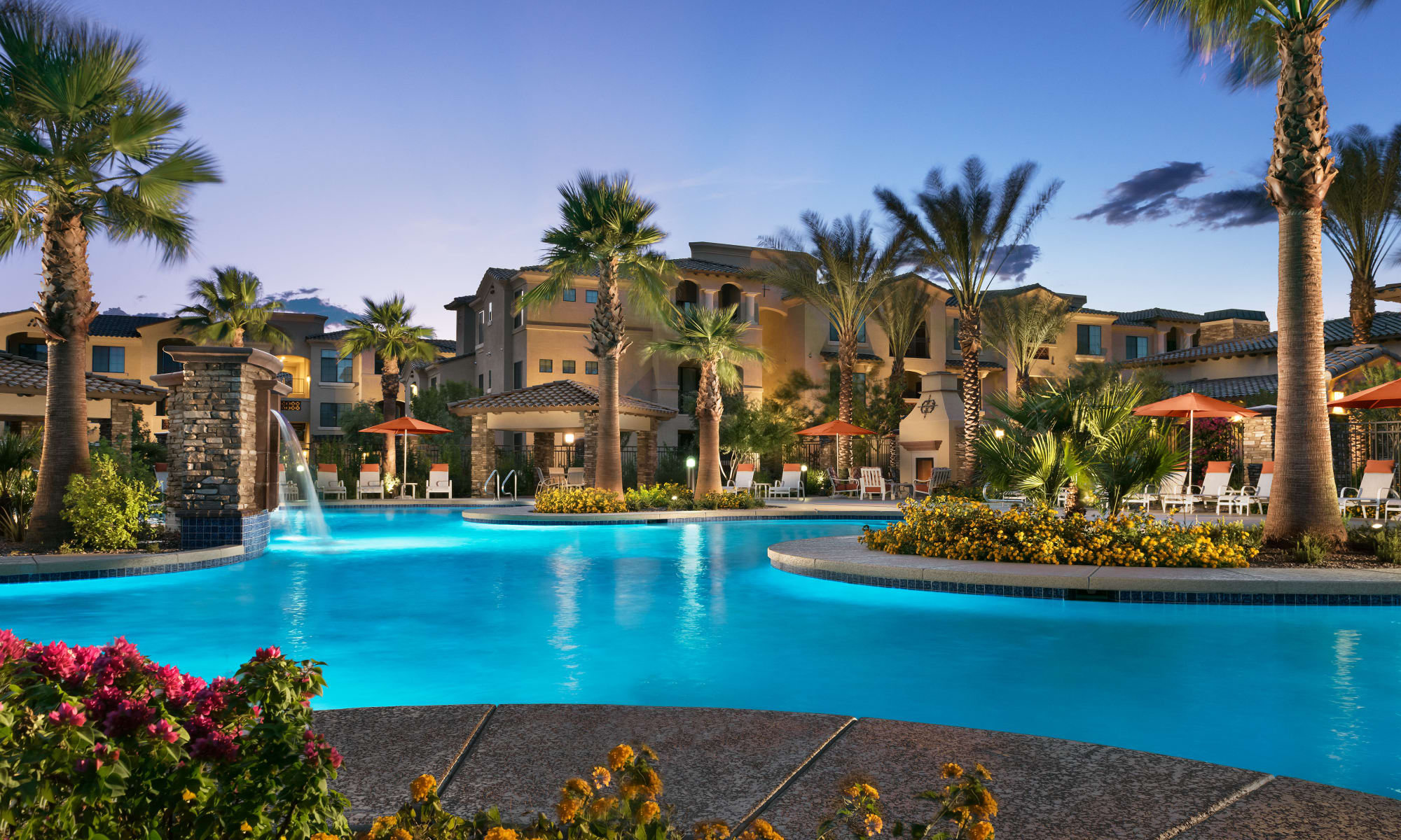 Luxury swimming pool at San Milan in Phoenix, Arizona