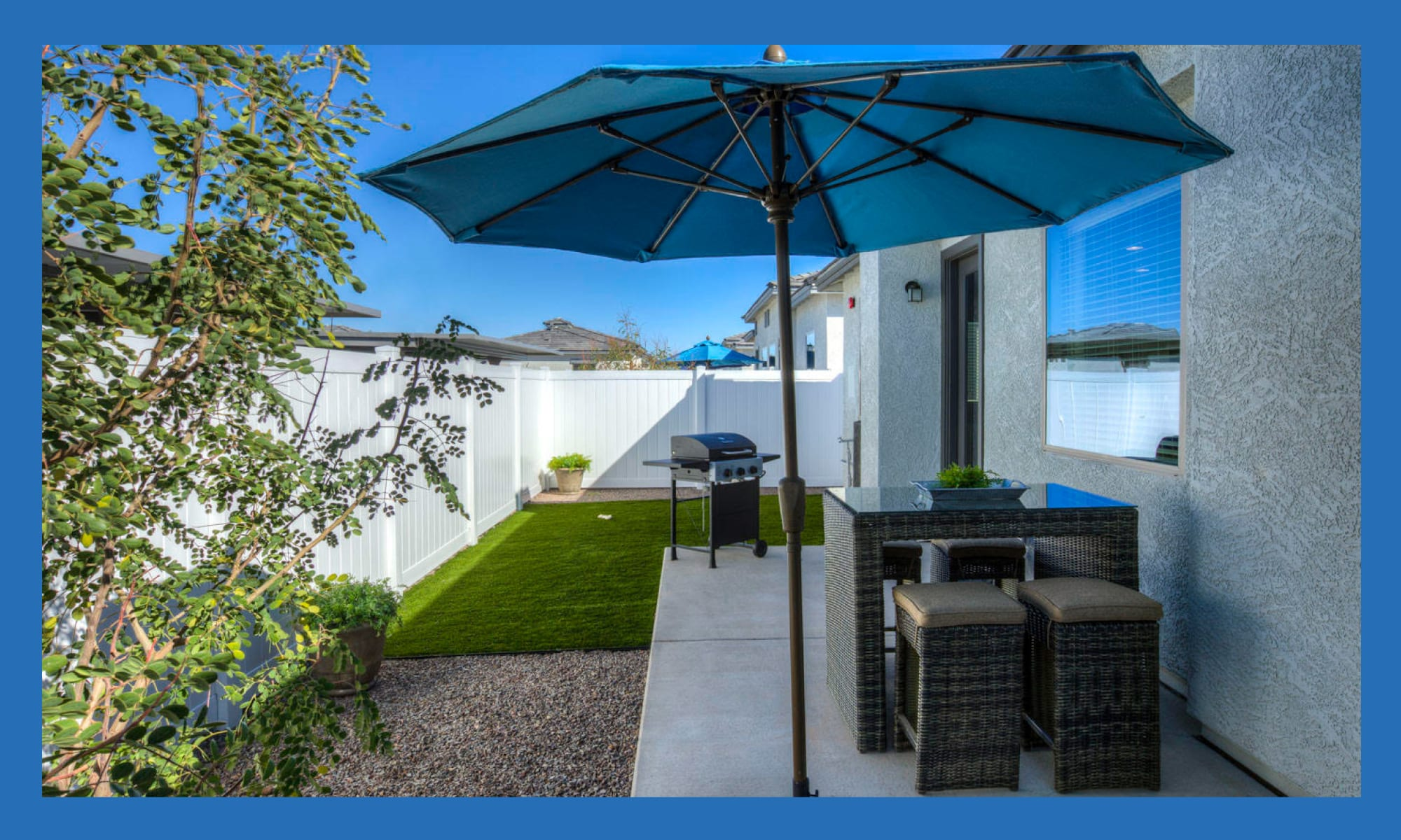 Private patio outside a model home at Christopher Todd Communities At Marley Park in Surprise, Arizona