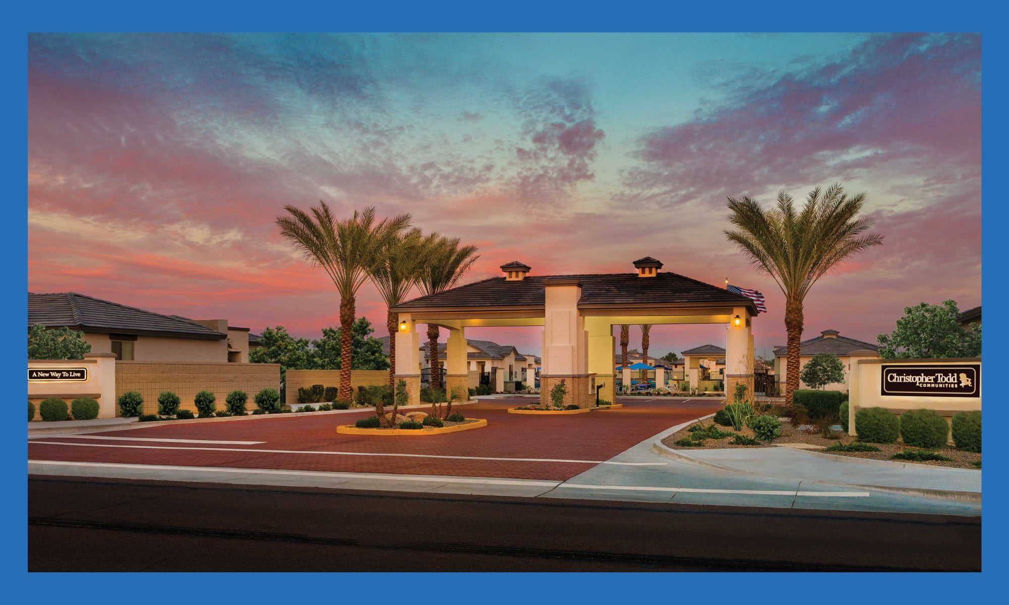 Exterior view of the leasing center at dusk at Christopher Todd Communities At Marley Park in Surprise, Arizona