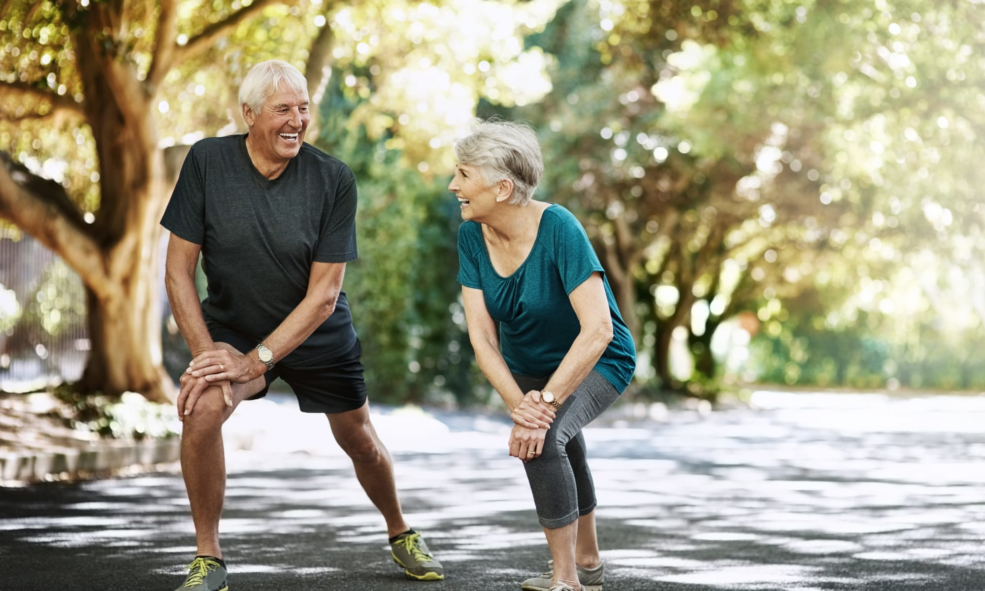 Residents exercising outside at a Retirement Center Management community