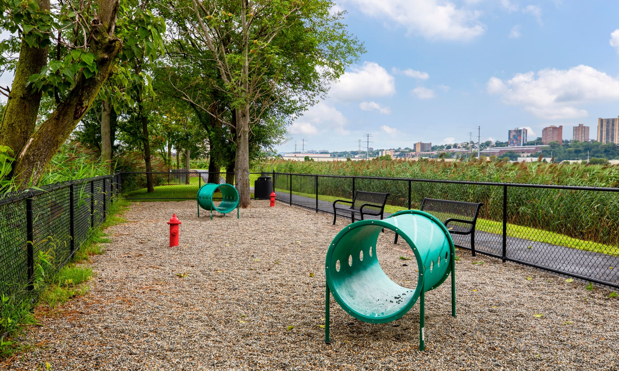 Dog park at The Harper at Harmon Meadow in Secaucus, New Jersey