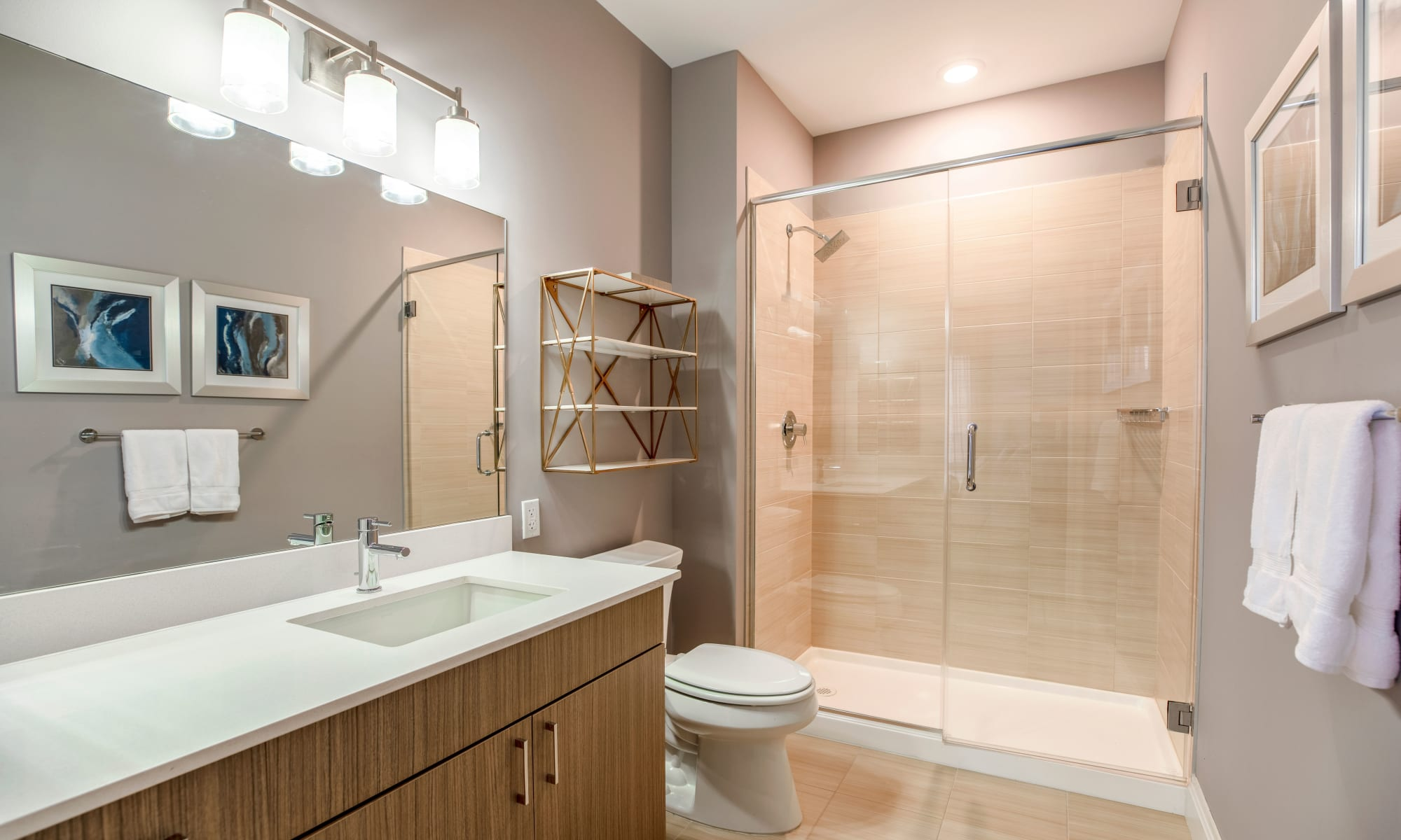 Bathroom at The Harper at Harmon Meadow in Secaucus, New Jersey
