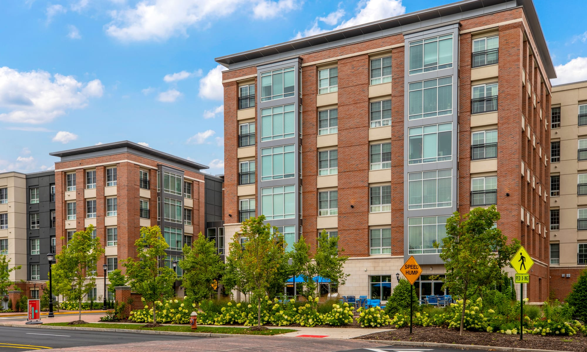 Exterior shot of The Harper at Harmon Meadow in Secaucus, New Jersey