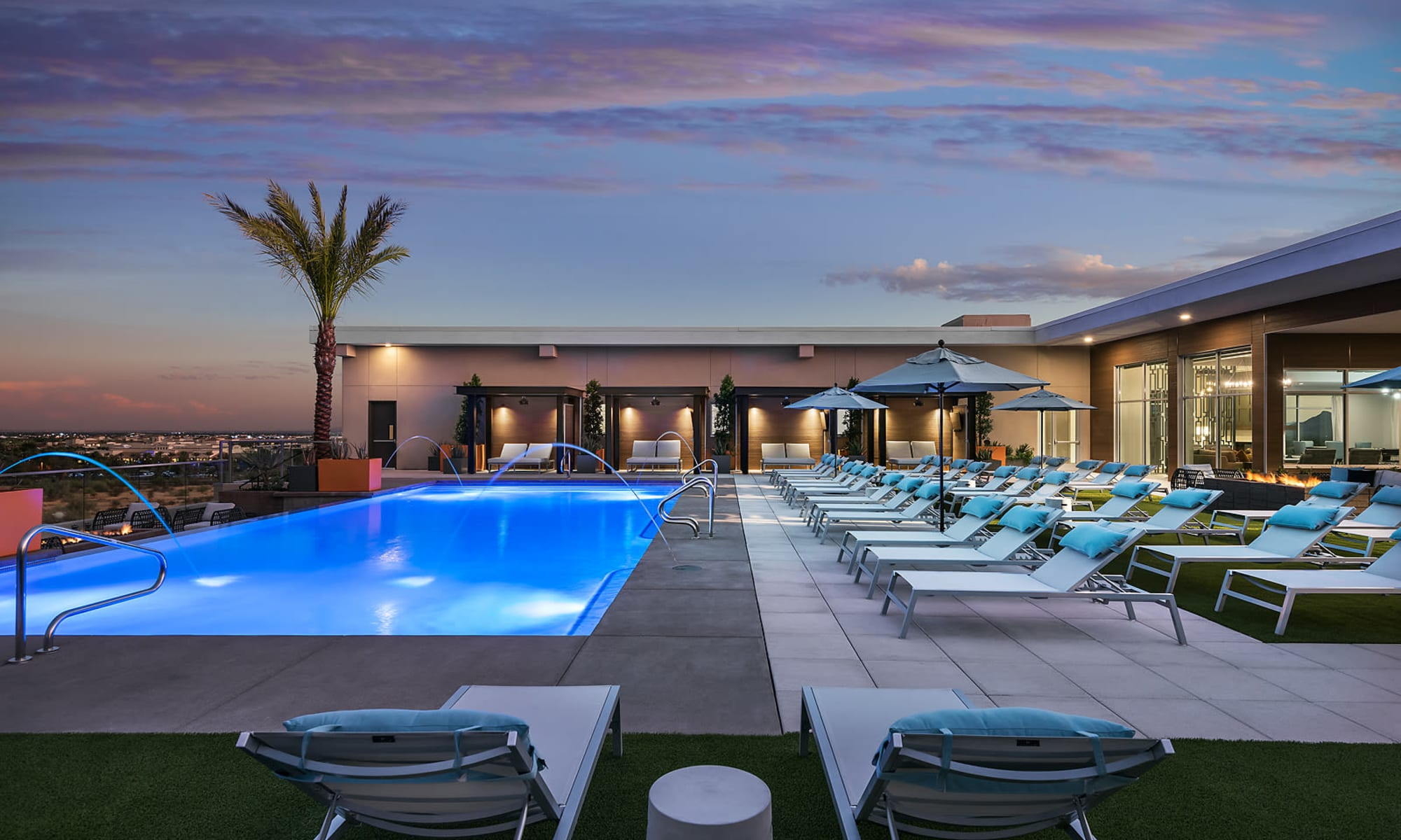 Resort style pool at The Halsten at Chauncey Lane in Scottsdale, Arizona