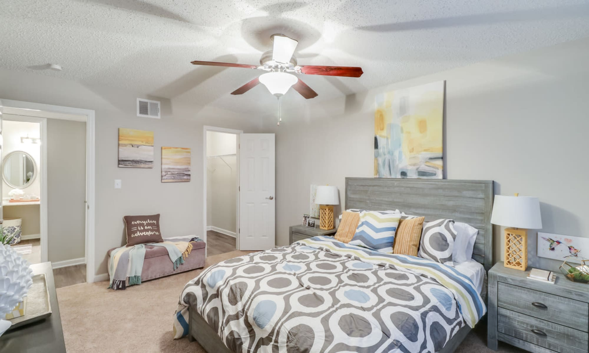 Model bedroom at Pinebrook Apartments in Ridgeland, Mississippi