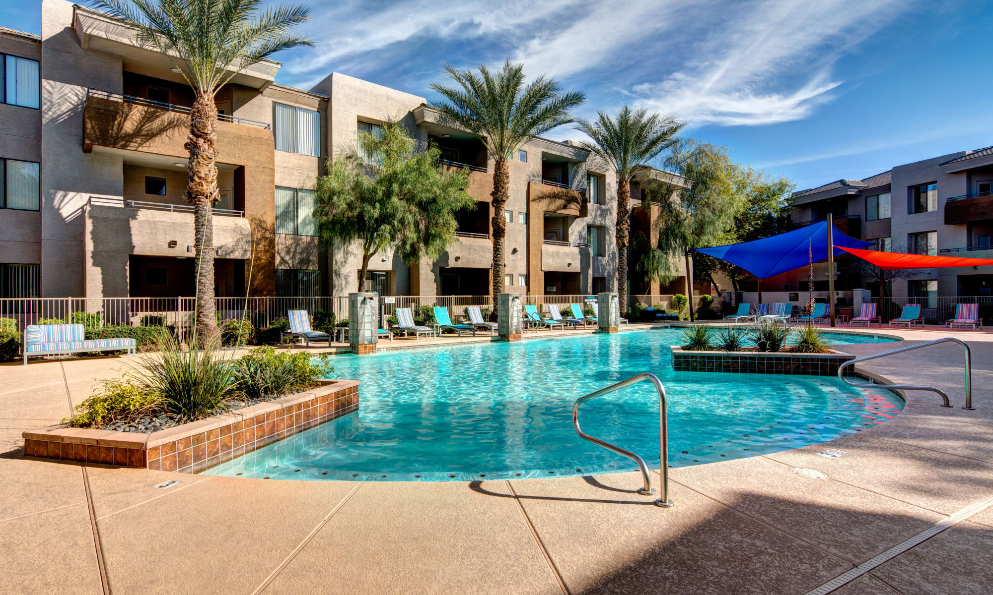 Beautiful resort style pool at Spectra on 7th South in Phoenix, Arizona