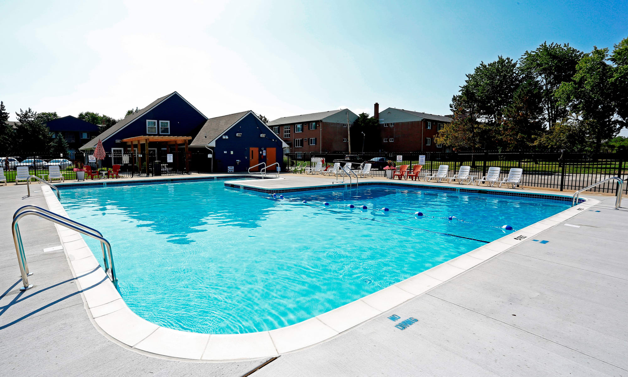 Outdoor swimming pool at The Loop on Greenfield in Oak Park, Michigan