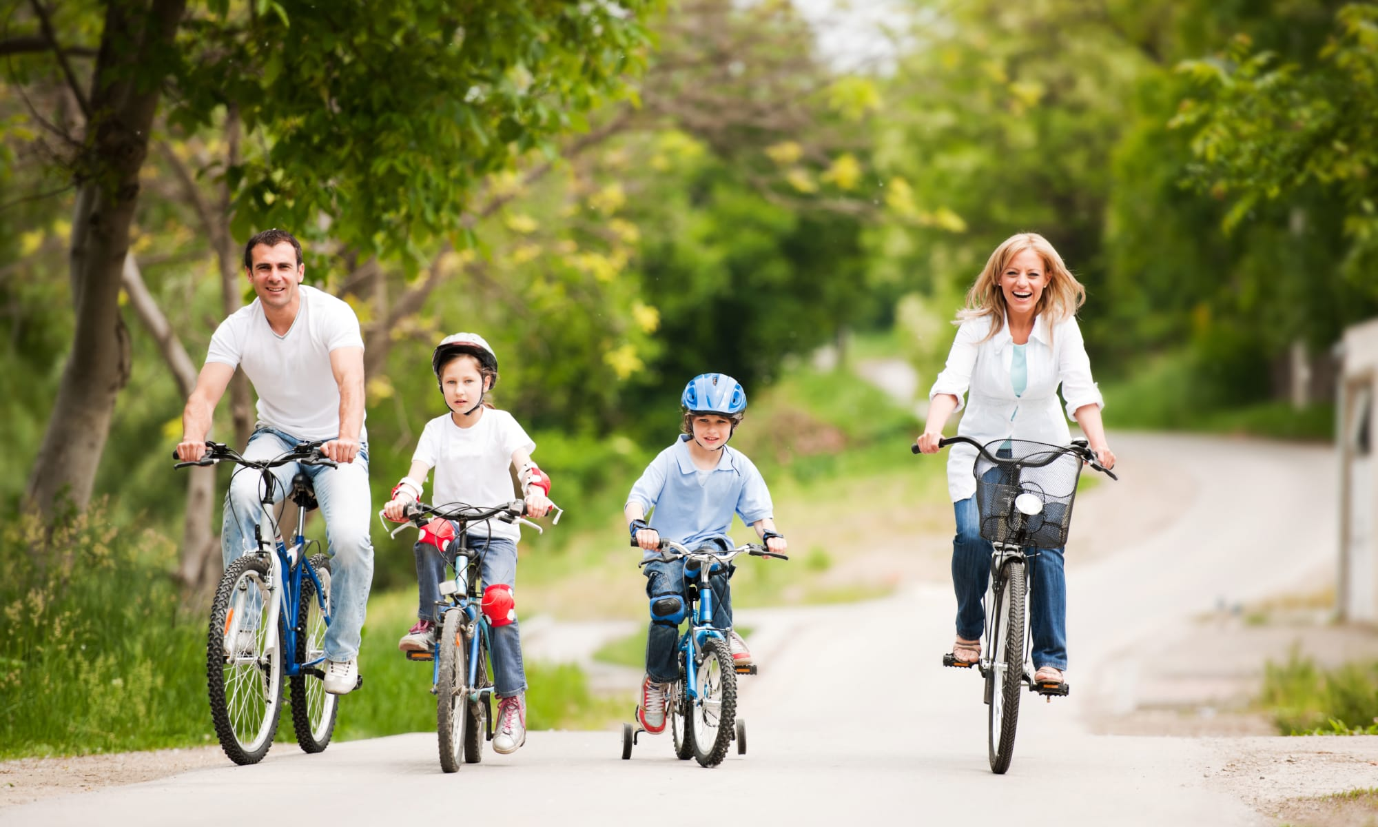A family biking near The Retreat at Sherwood in Sherwood, Arkansas