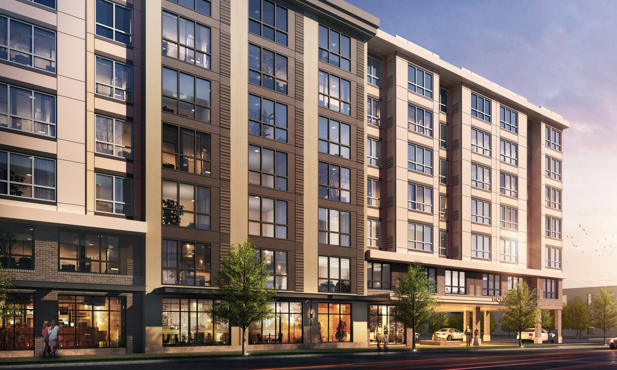 Artist rendering of the west face of resident apartment building at Holden Southcenter in Tukwila, Washington