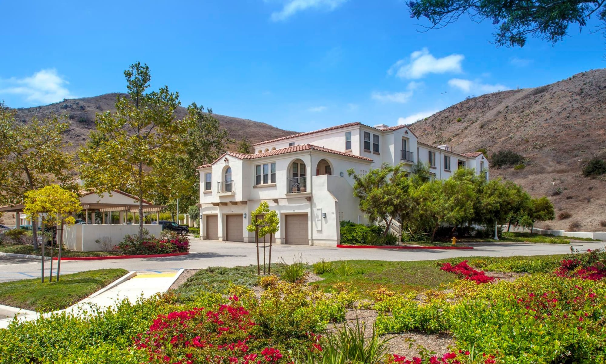 Exterior view of our mission-style community on a sunny day at Mission Hills in Camarillo, California