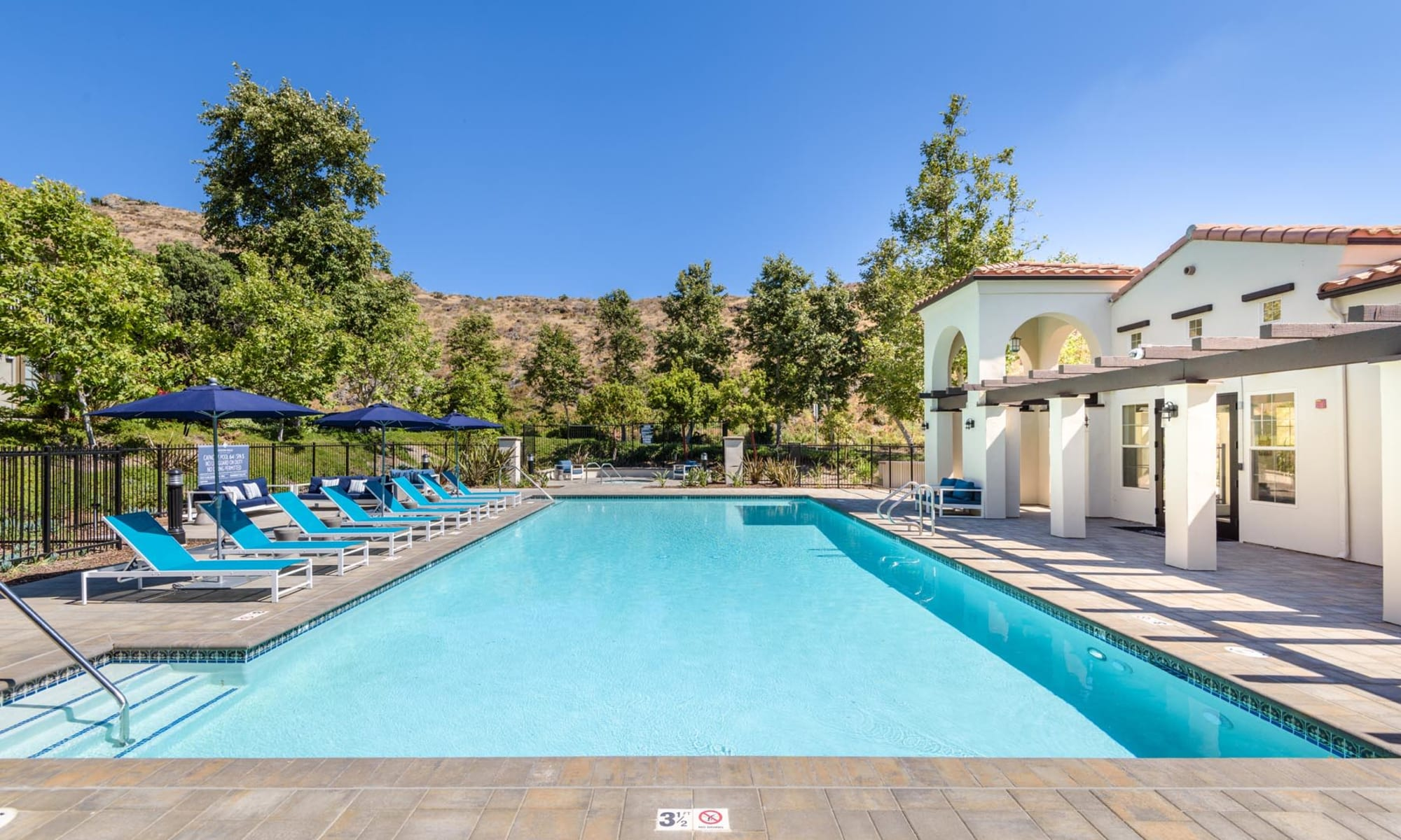 Beautiful pool on a sunny day at Mission Hills in Camarillo, California