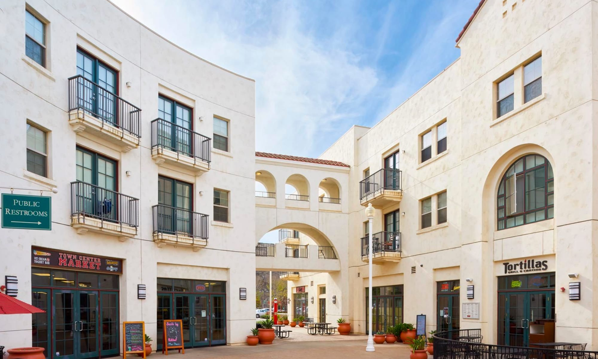 Retail shops and restaurants at ground level at our luxury community at Mission Hills in Camarillo, California