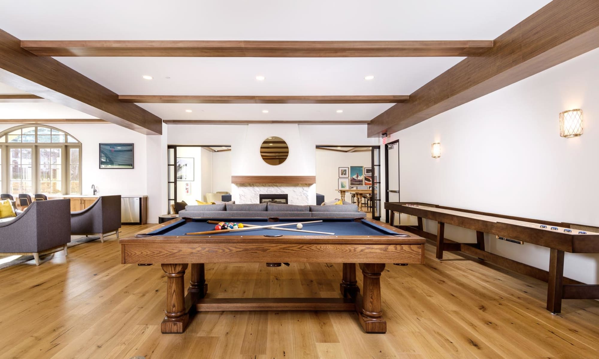Billiards table in the game area of the clubhouse at Mission Hills in Camarillo, California