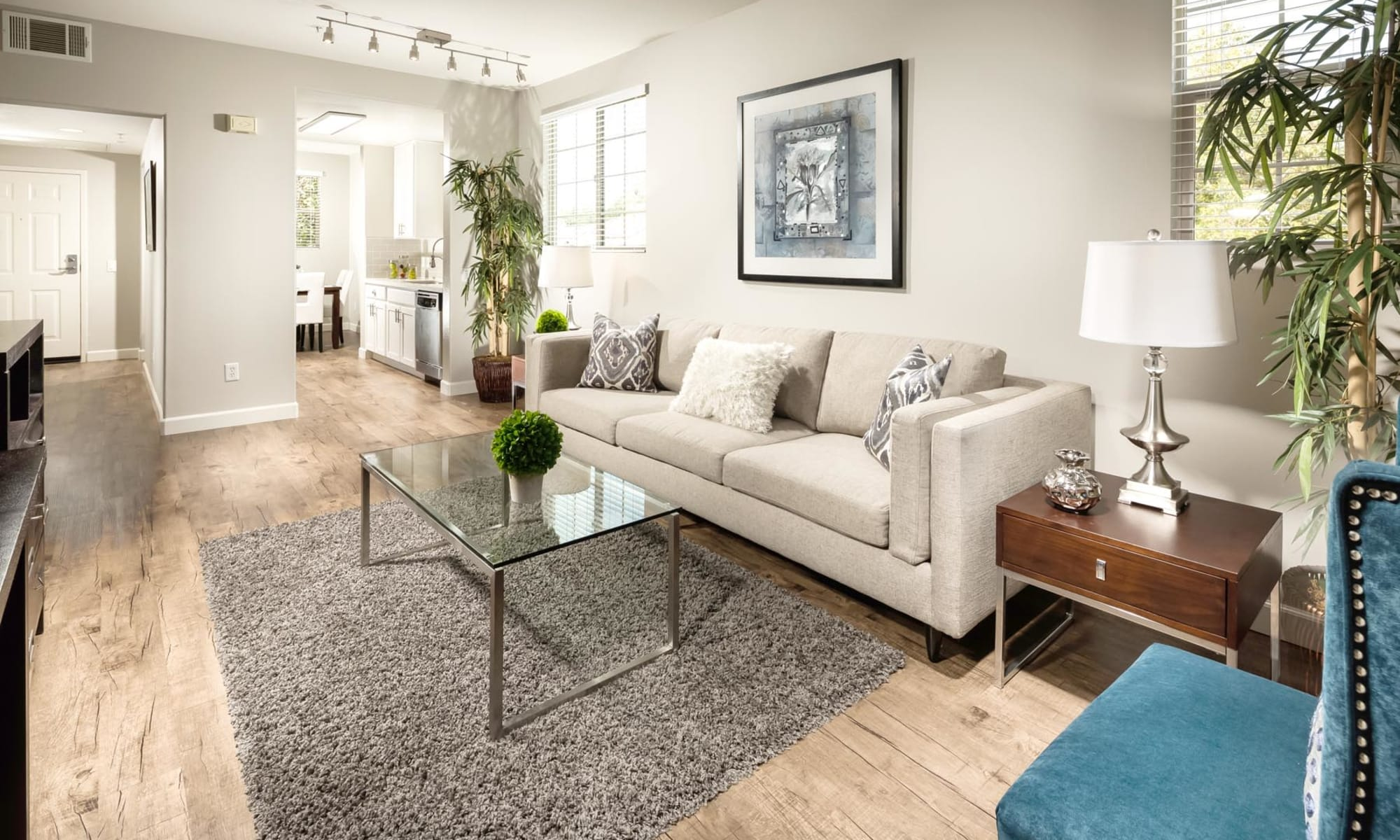 Well-furnished living area in a model apartment at Mission Hills in Camarillo, California