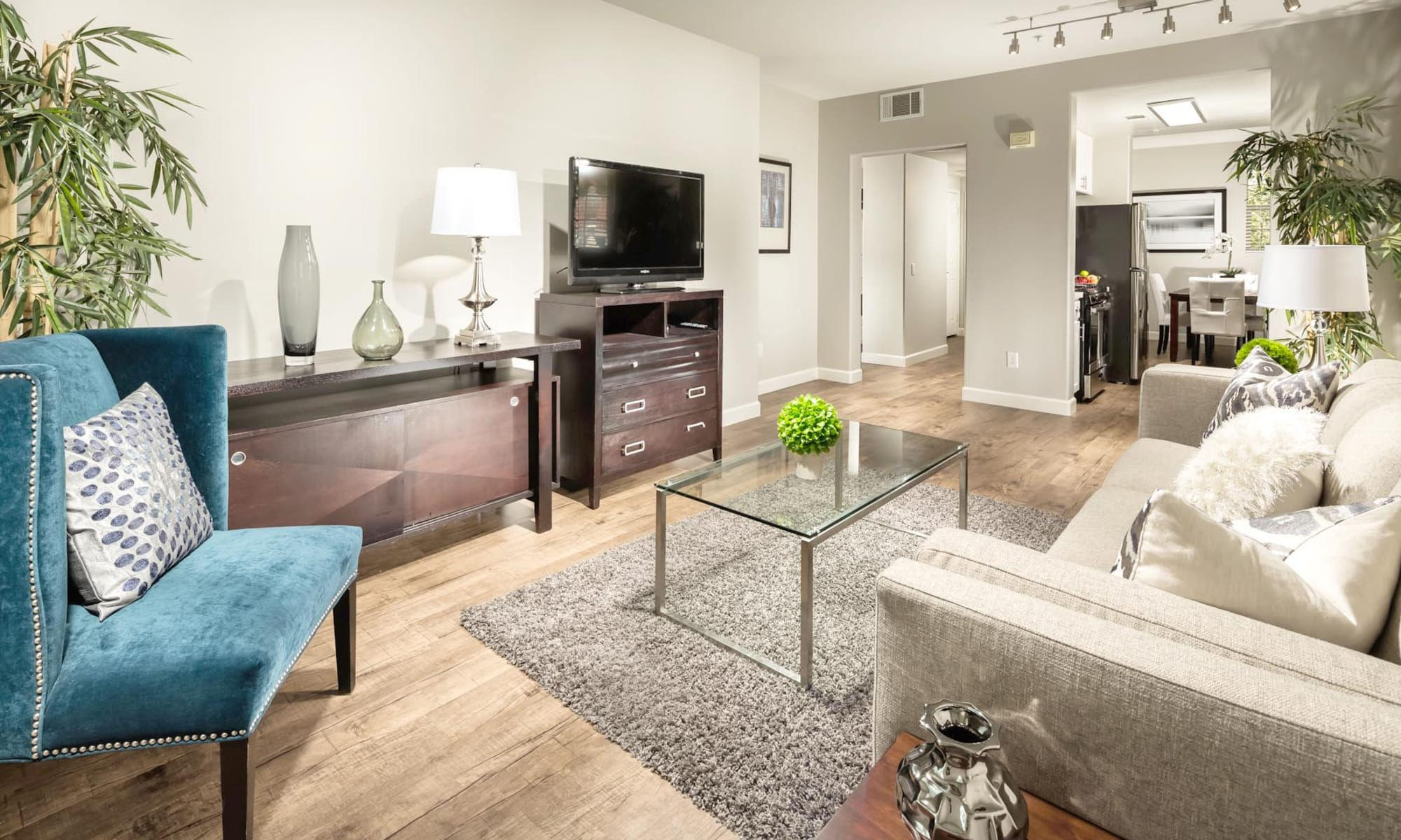Beautiful hardwood flooring in a model home's living area at Mission Hills in Camarillo, California