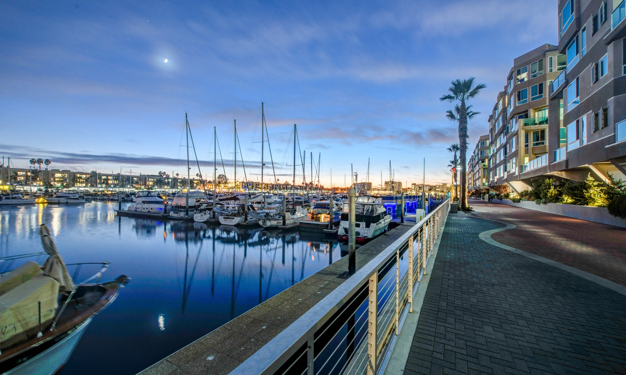 Twilight view of the marina at Esprit Marina del Rey in Marina Del Rey, California