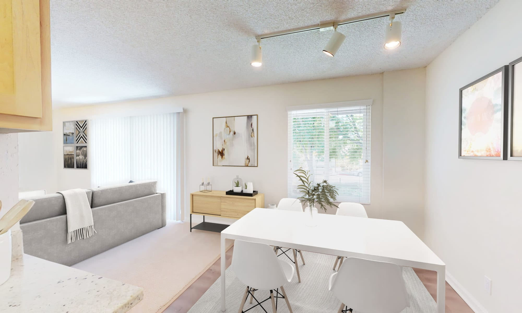 Ample natural light filling the living areas of a model home at Pleasanton Glen Apartment Homes in Pleasanton, California