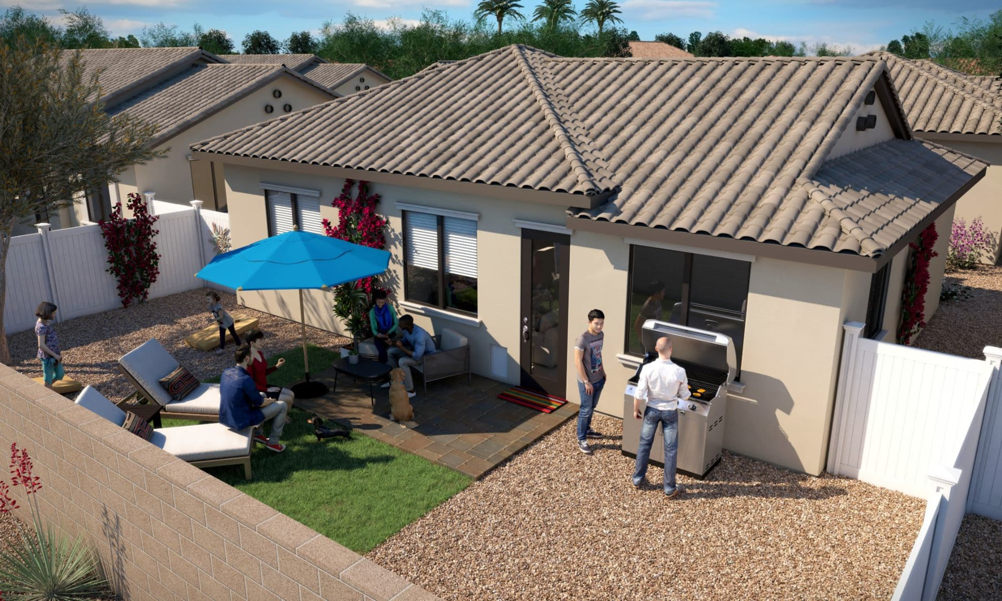 Backyard bbq rendering of TerraLane at Canyon Trails in Goodyear, Arizona