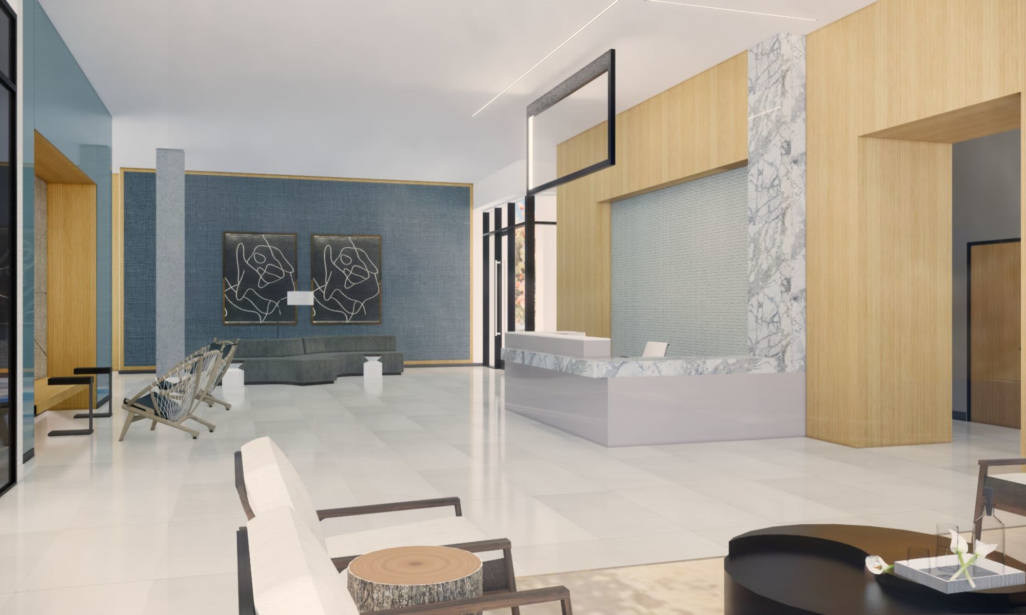 Rendering of the common area inside The Piedmont in Tempe, Arizona