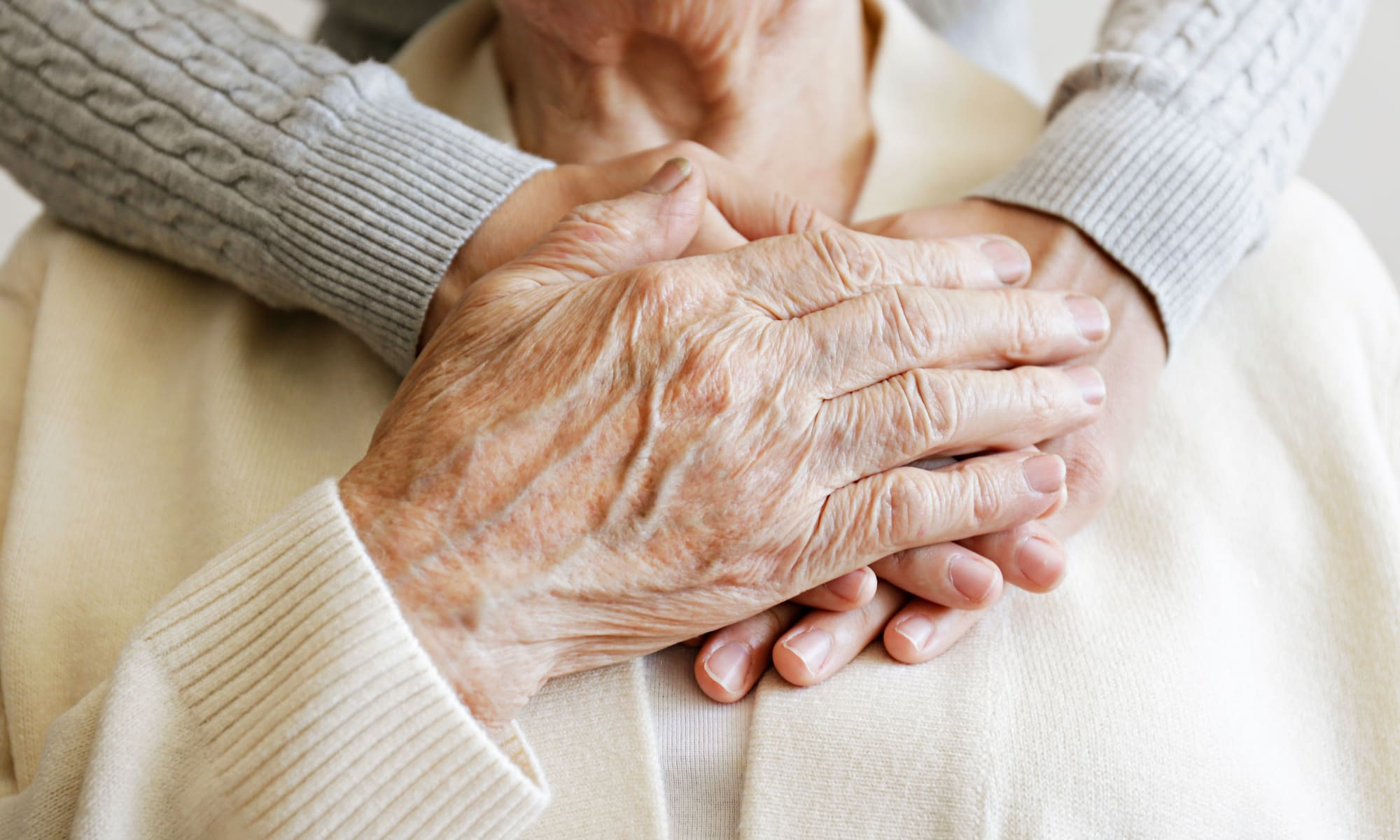 Hands embracing at Broadwell Senior Living in Plymouth, Minnesota