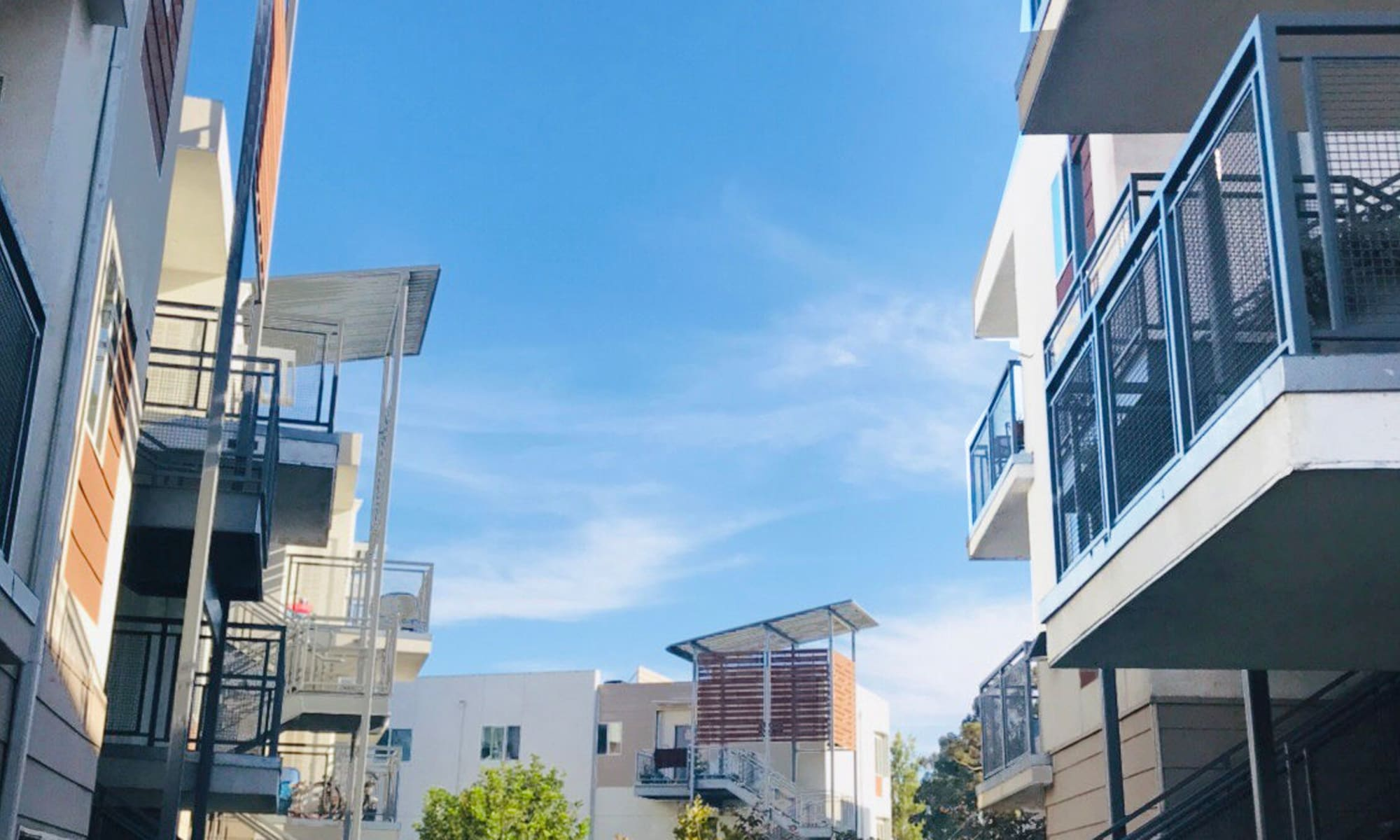 Private balconies outside apartment homes at Citron in Ventura, California