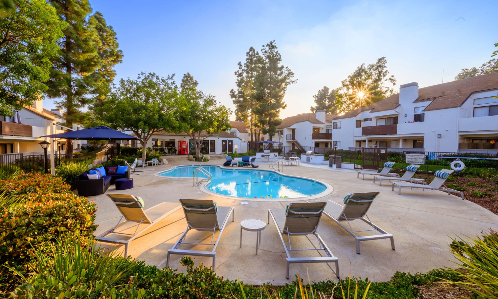 Sunlight streaming through the trees above the pool area just before sunset at Sendero Huntington Beach in Huntington Beach, California