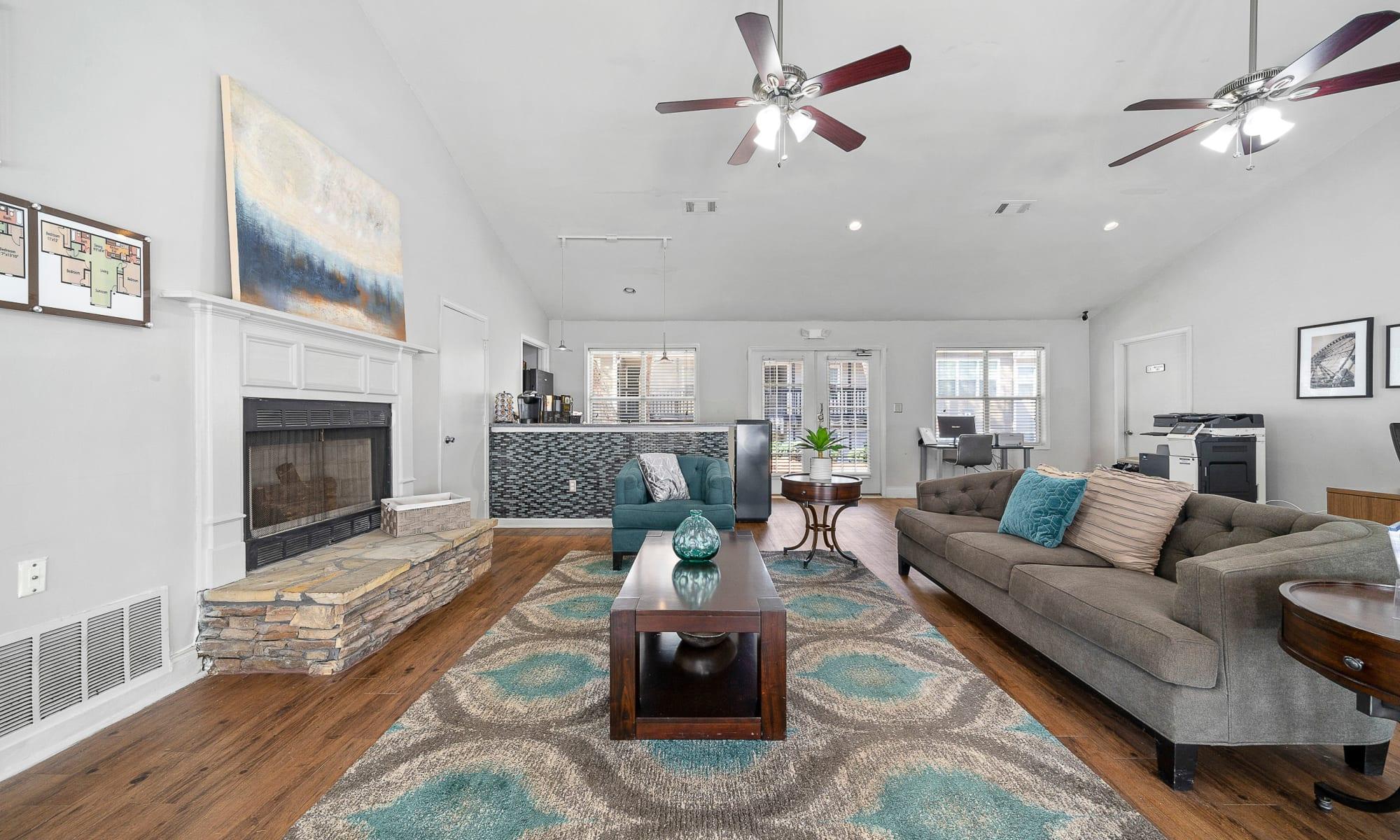 Model living room interior of The Greens at Cascade Apartment Homes in Atlanta,GA