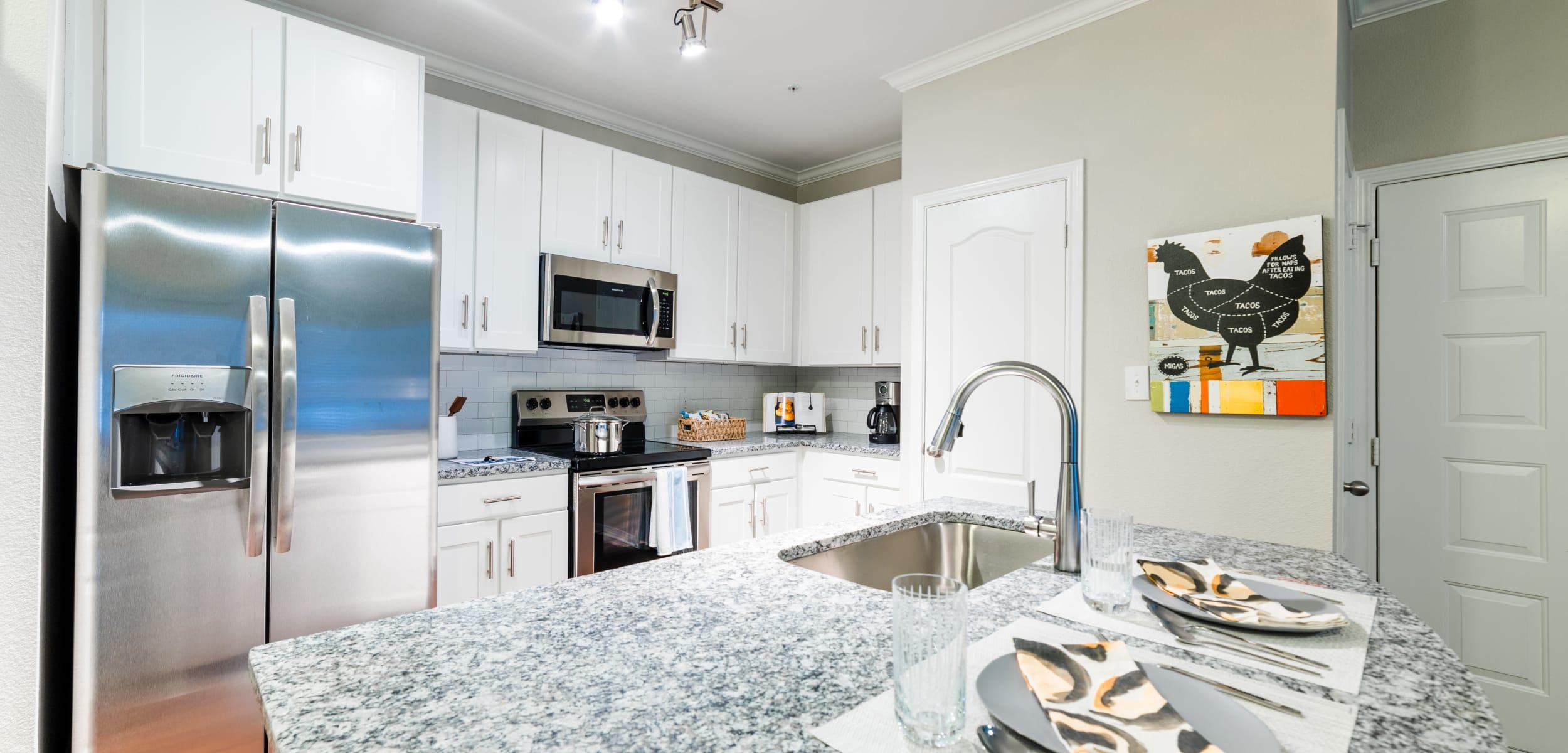 Modern, sleek kitchen at Marquis Parkside in Austin, Texas