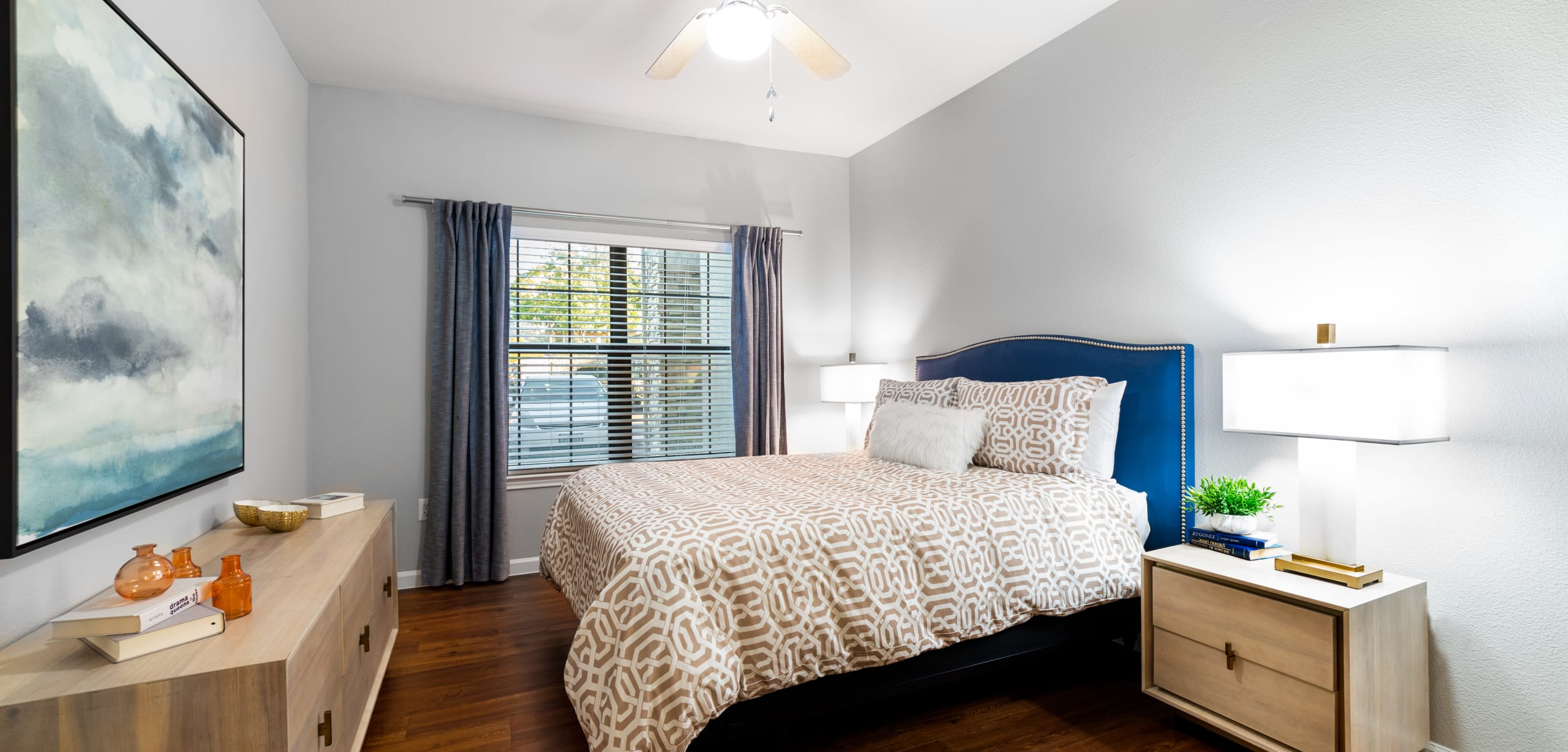 Bedroom with a large window at Marquis Parkside in Austin, Texas