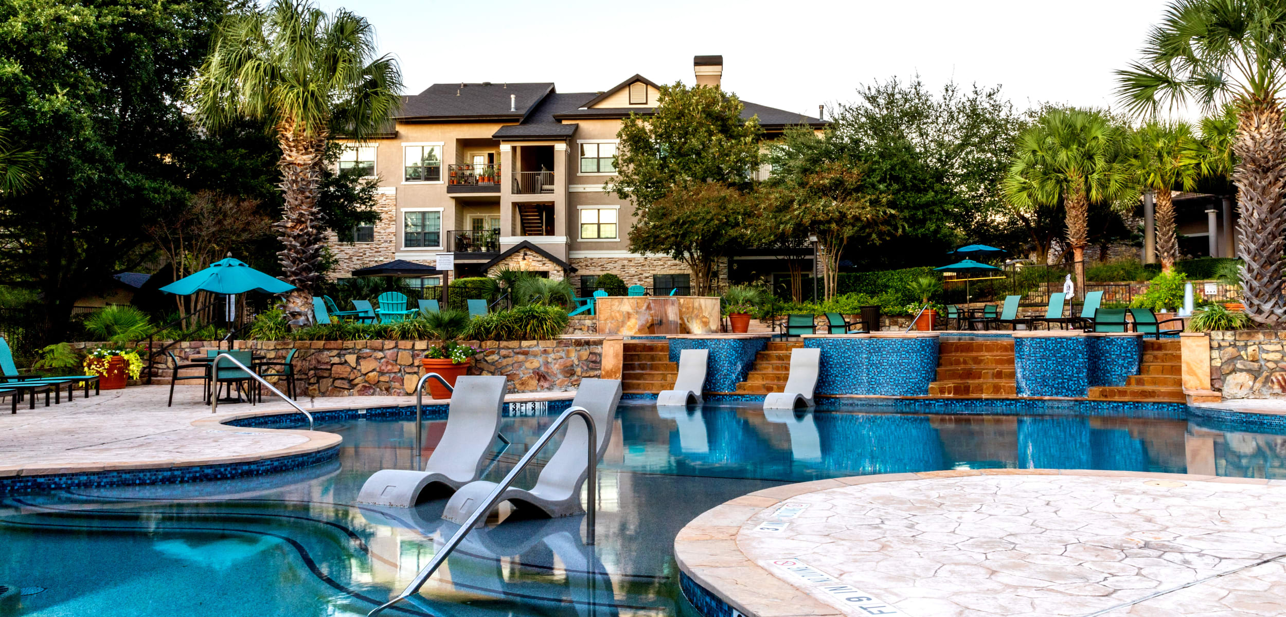 Sparkling pool at Marquis Parkside in Austin, Texas