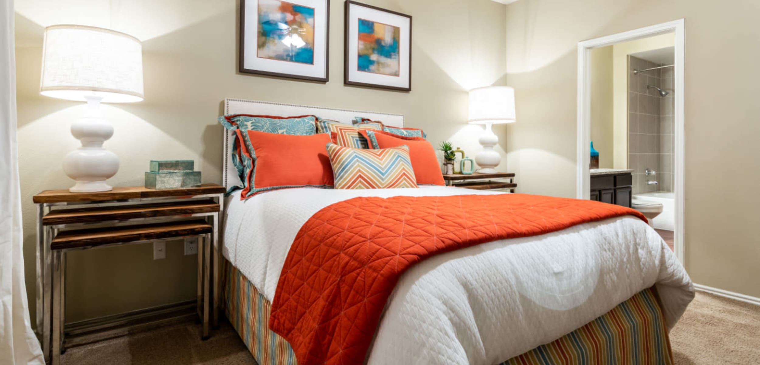 Furnished bedroom at Marquis at Ladera Vista in Austin, Texas