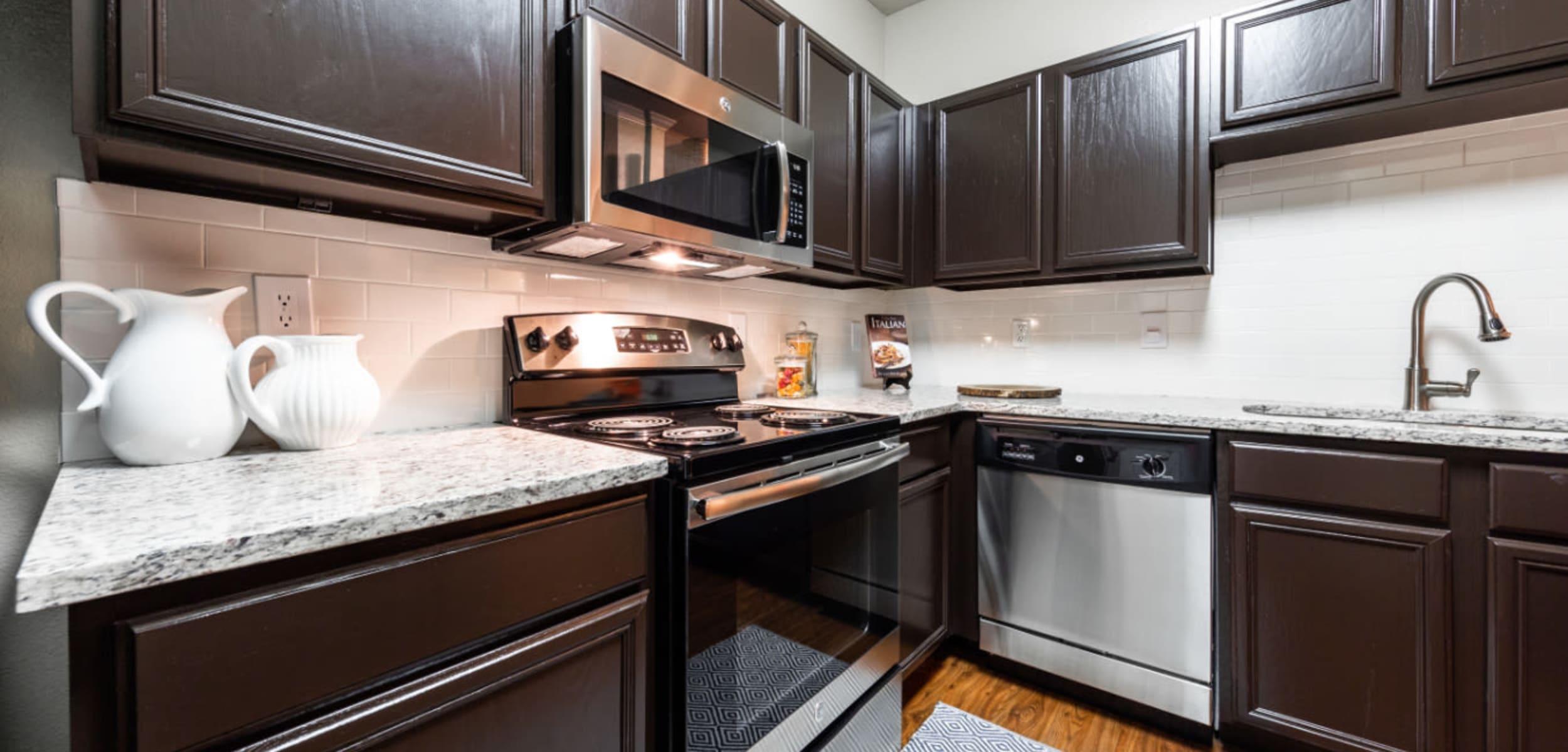 Kitchen space at Marquis at Ladera Vista in Austin, Texas