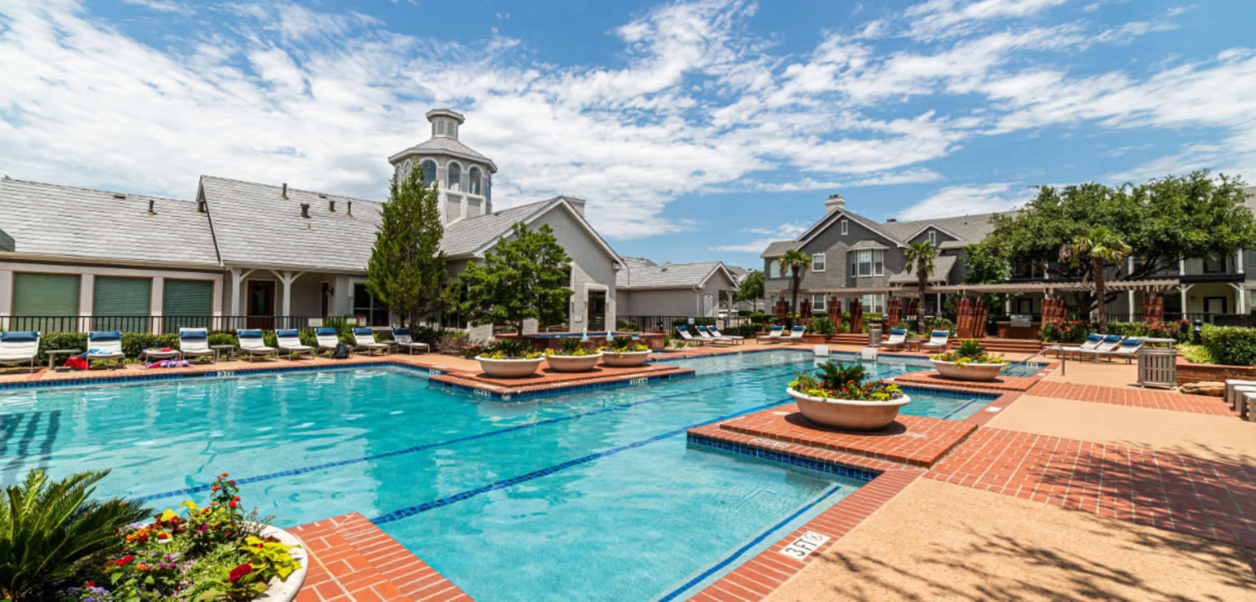 Sparkling pool with swim lanes at Marquis at Lantana in Flower Mound, Texas