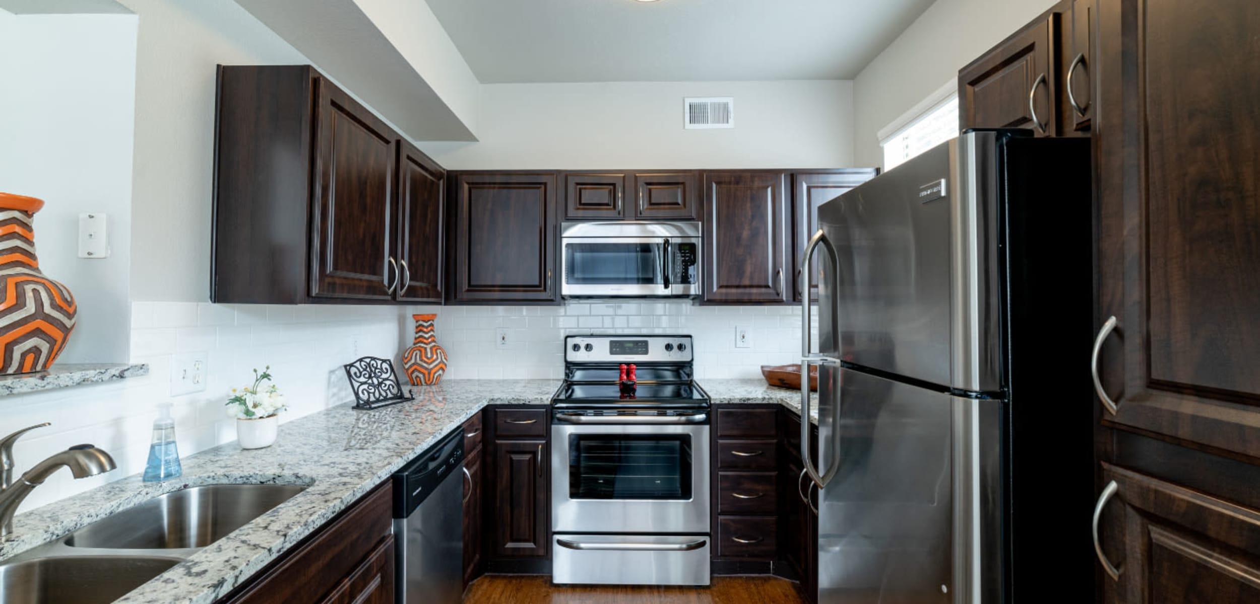 Modern, sleek kitchen at Marquis at Lantana in Flower Mound, Texas