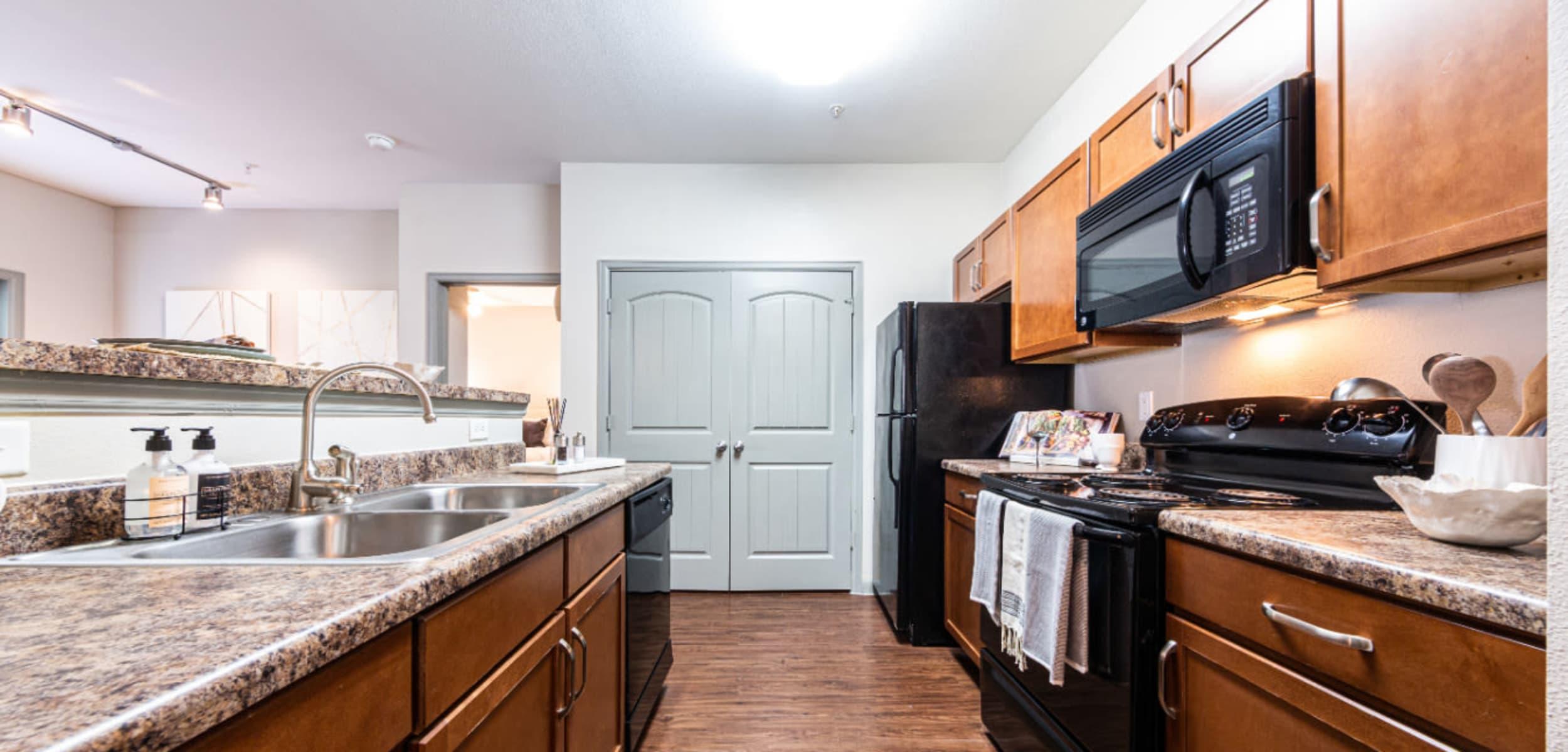 Modern, sleek kitchen at Marquis at Katy in Katy, Texas