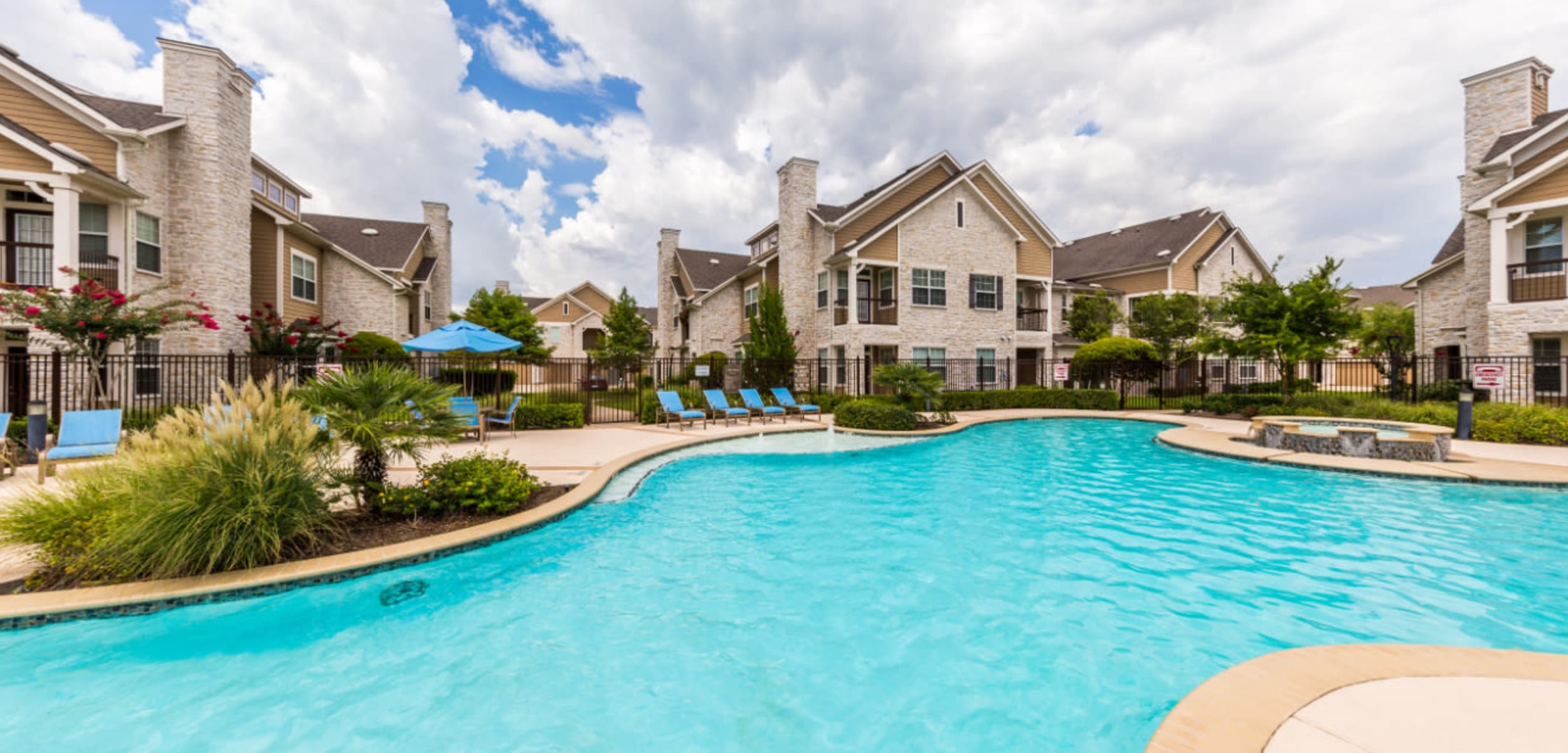 Outdoor water feature at Marquis at Cinco Ranch in Katy Texas,