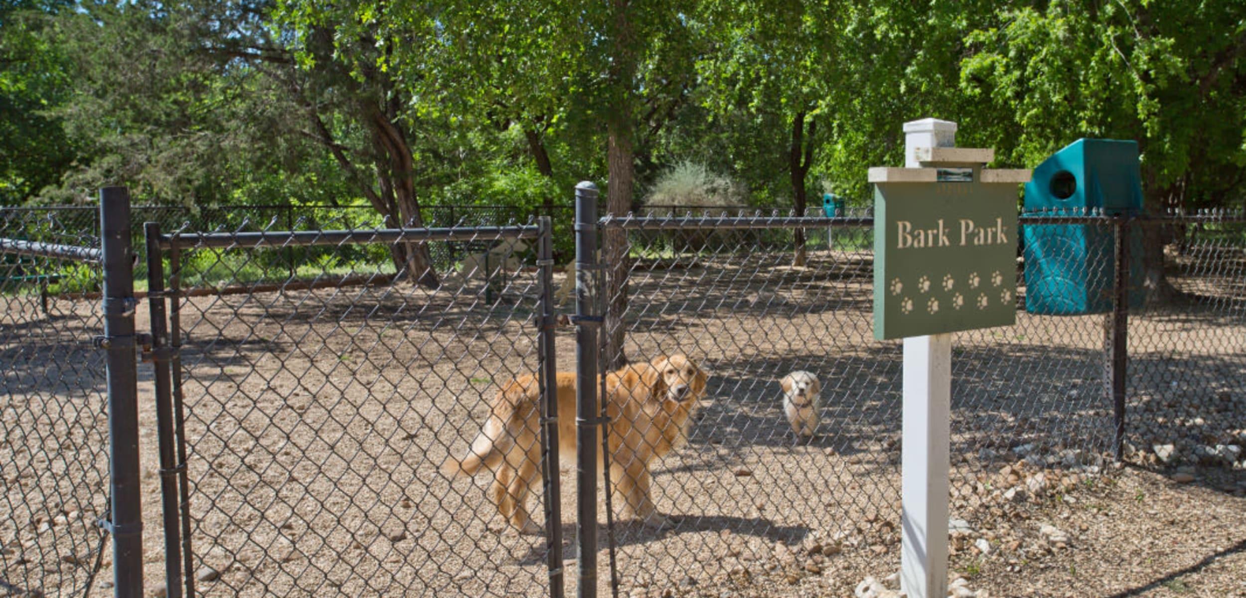 Enclosed dog park at Marquis Bandera in San Antonio, Texas