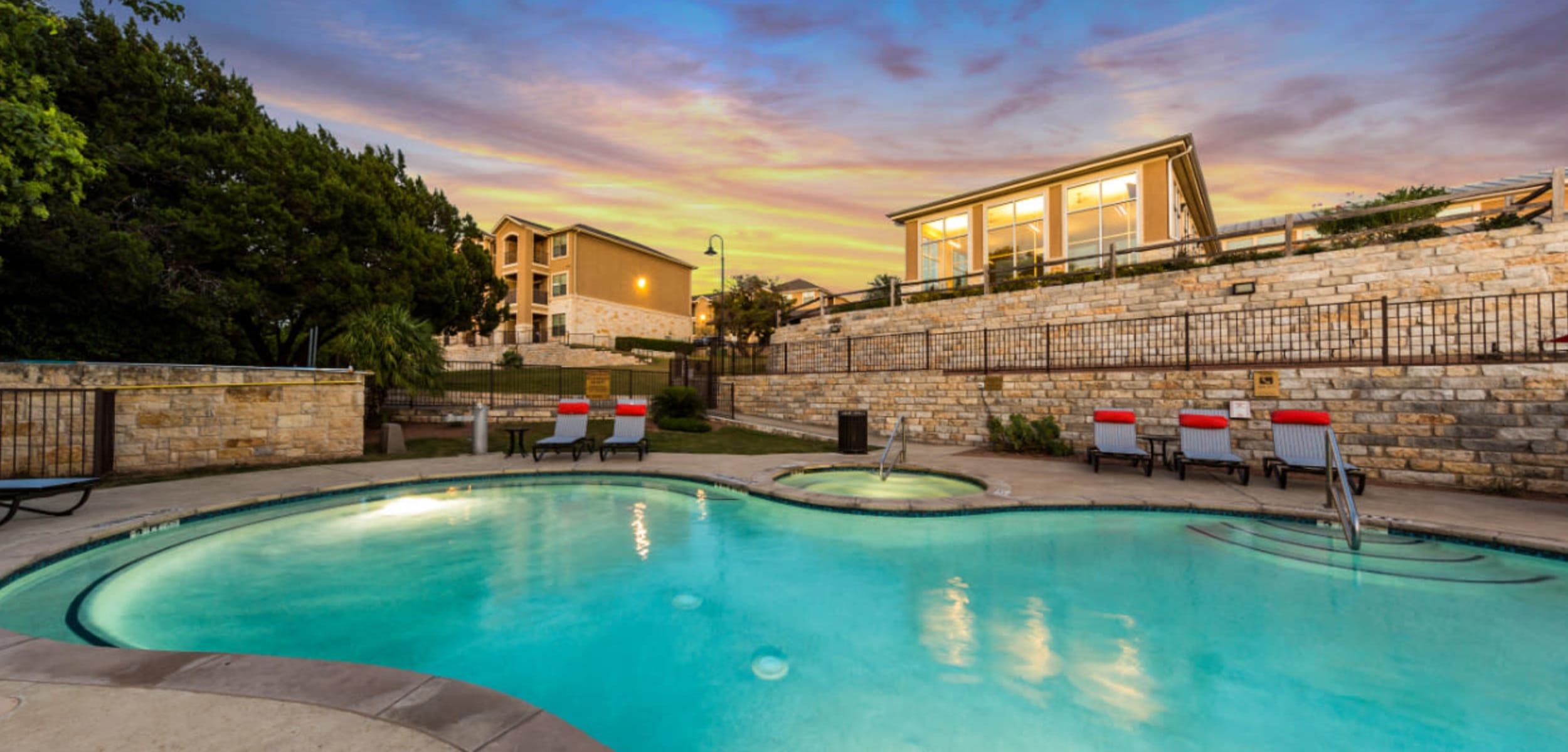 Sparkling pool at Marquis at Canyon Ridge in Austin, Texas