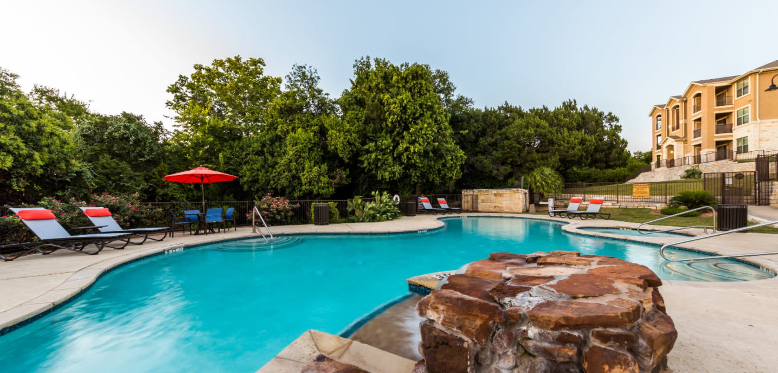 Outdoor water feature at Marquis at Canyon Ridge in Austin Texas,