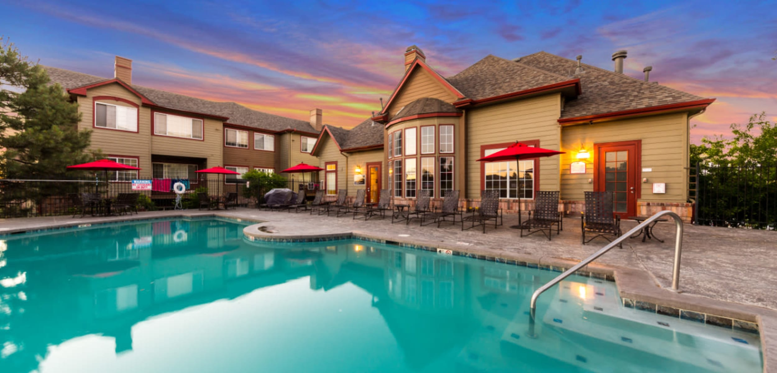 Sparkling pool at The Links at Plum Creek in Castle Rock, Colorado