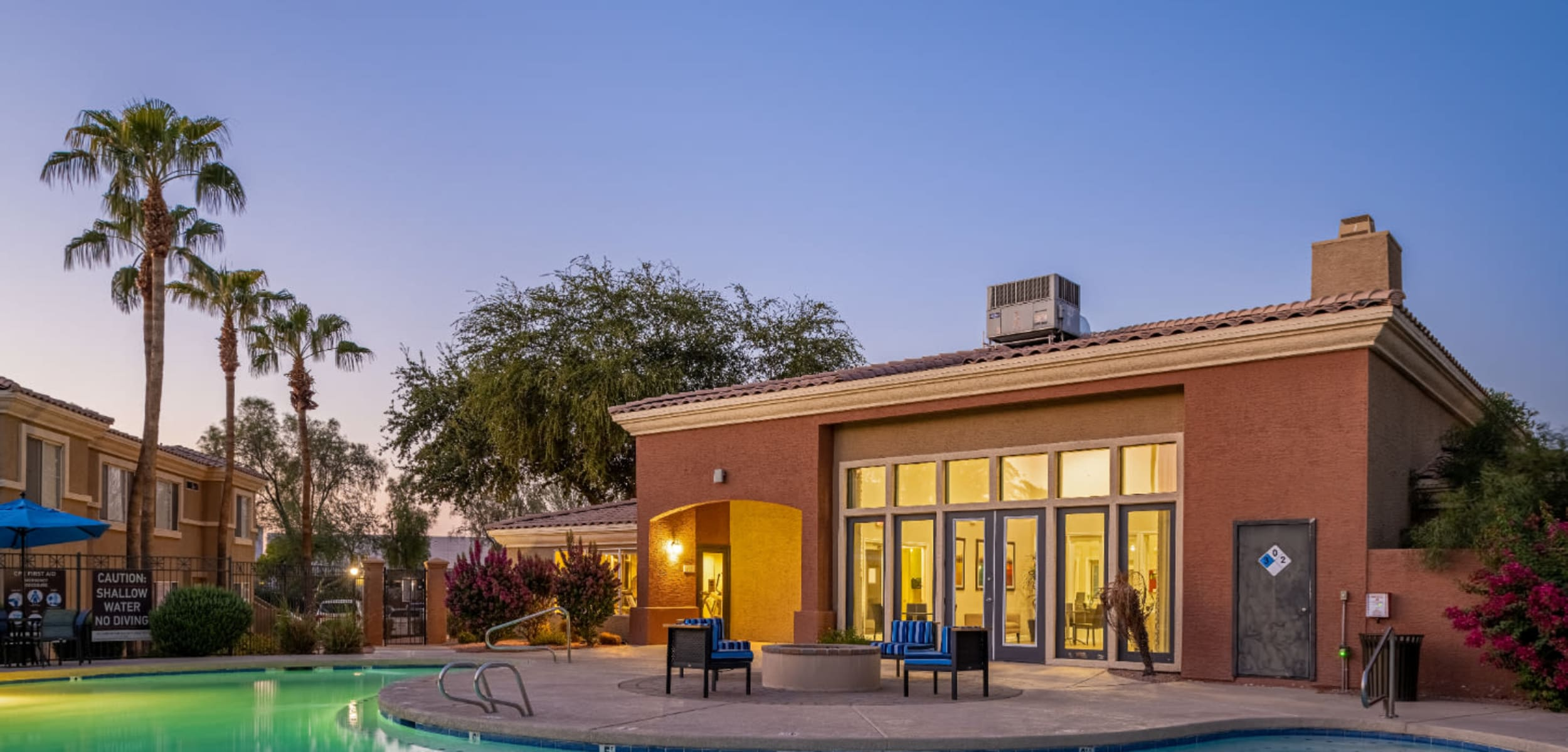 Clubhouse and pool at sunset at Alante at the Islands in Chandler Arizona,