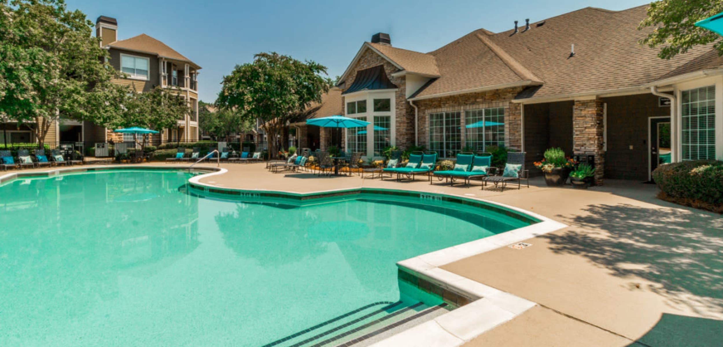 Three foot section of sparkling pool at at Marquis at Carmel Commons in Charlotte North Carolina,
