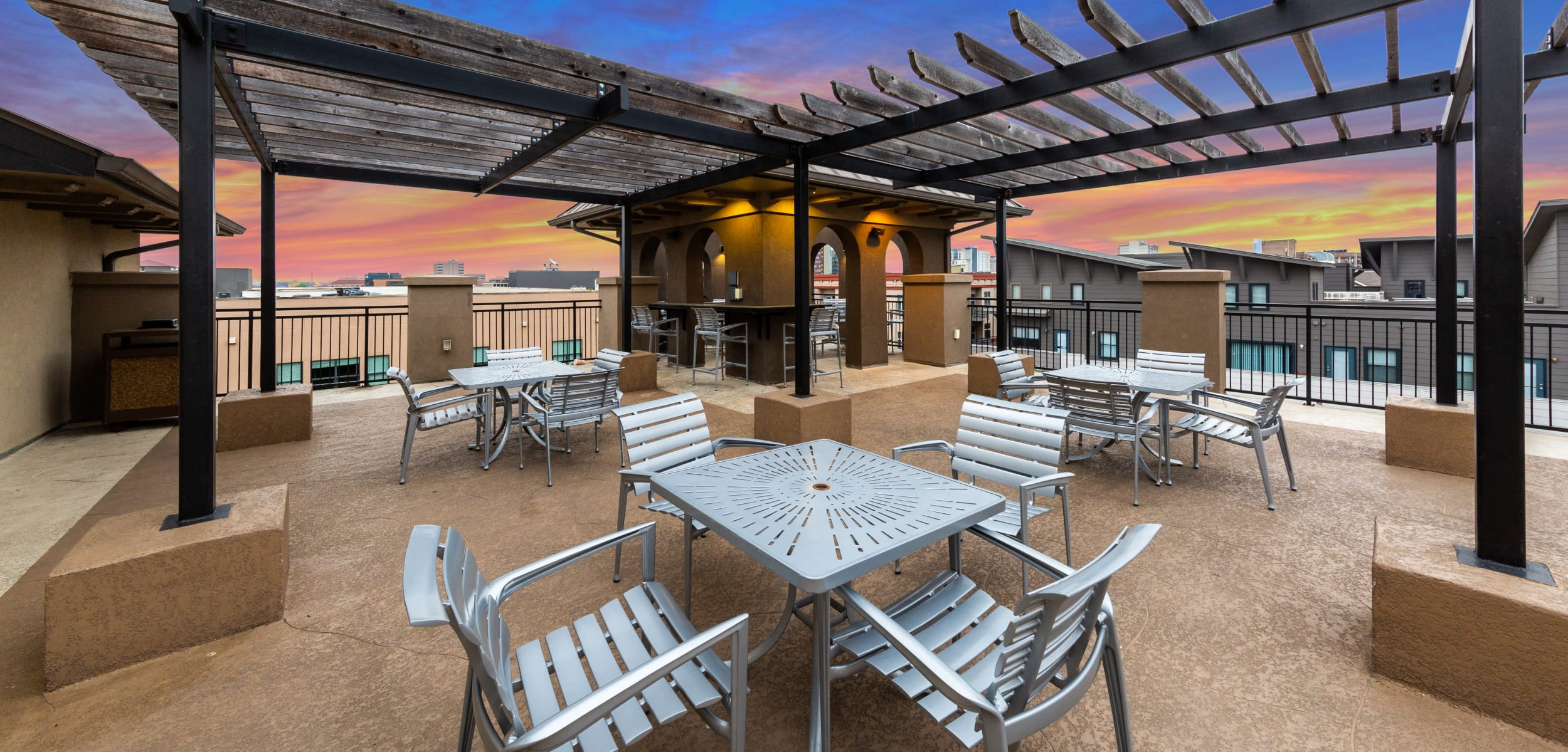 Regents West at 26th's rooftop patio area in Austin, Texas
